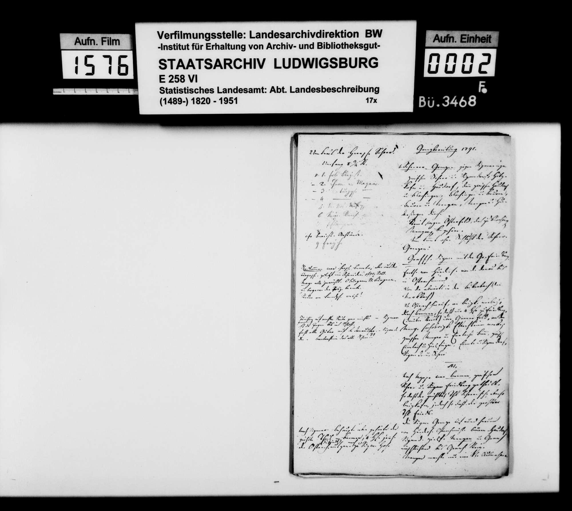 Notizen vornehmlich von Professor Memminger zur Vorbereitung des Manuskripts der OAB, Bild 1