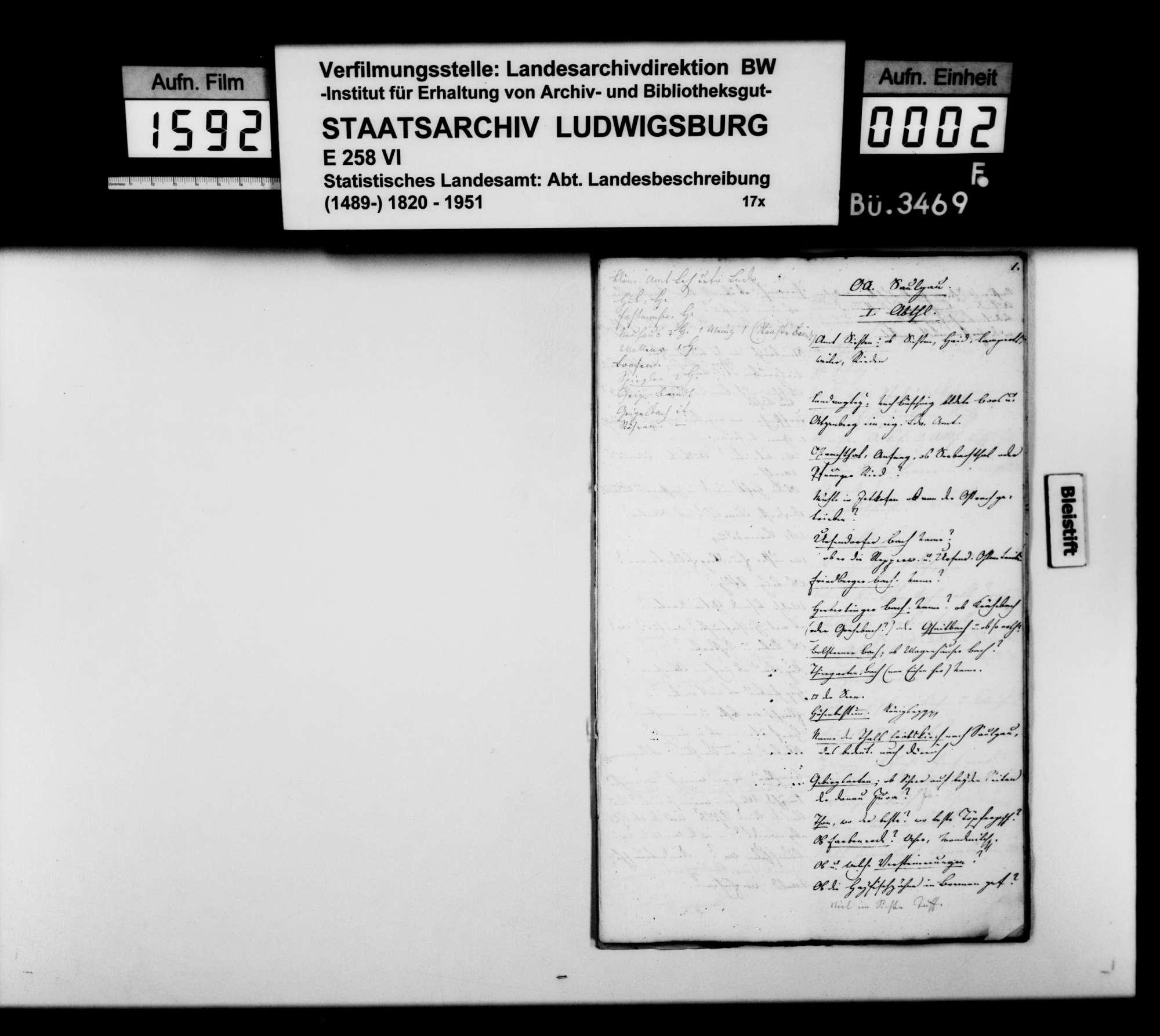 Konzept der OAB von Johann Daniel Georg Memminger, in unterschiedlichen Fertigungsstufen, Bild 1