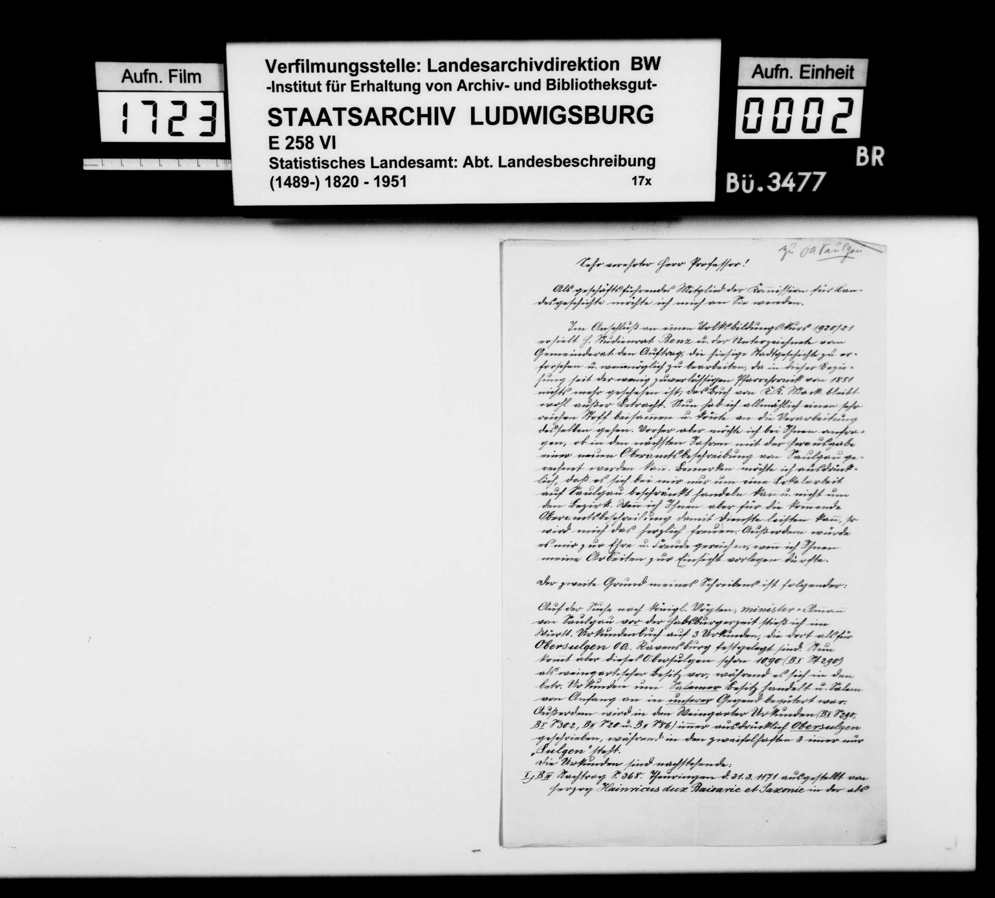 Vornehmlich historisches Material zur Neubearbeitung der OAB, Bild 1