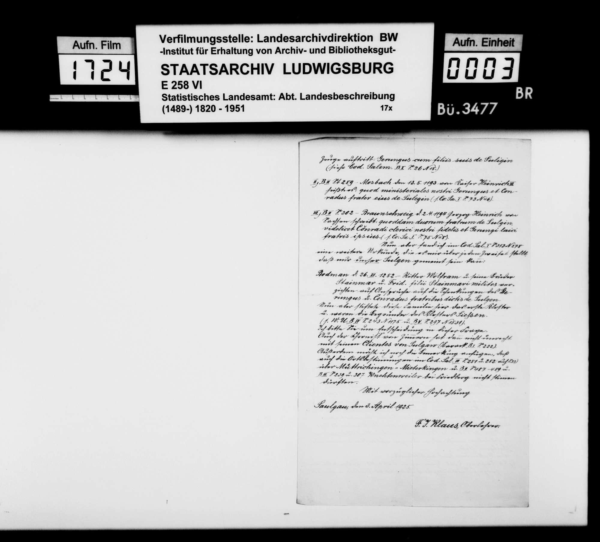 Vornehmlich historisches Material zur Neubearbeitung der OAB, Bild 2