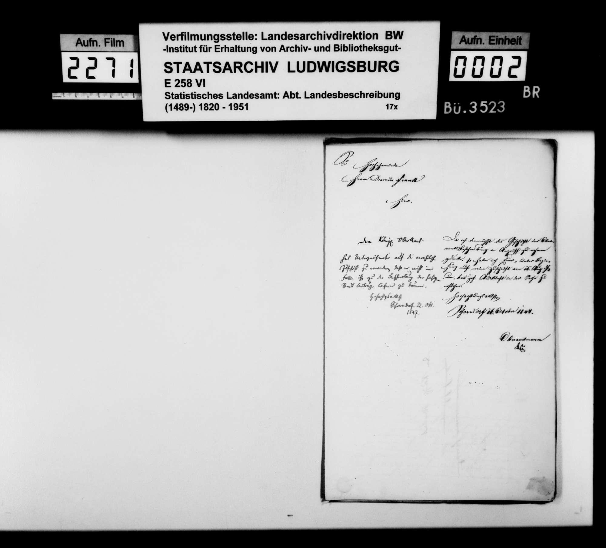 Antworten des Oberamtmanns Stroelin und lokaler Amtsträger auf Nachfragen des STBs, Bild 1
