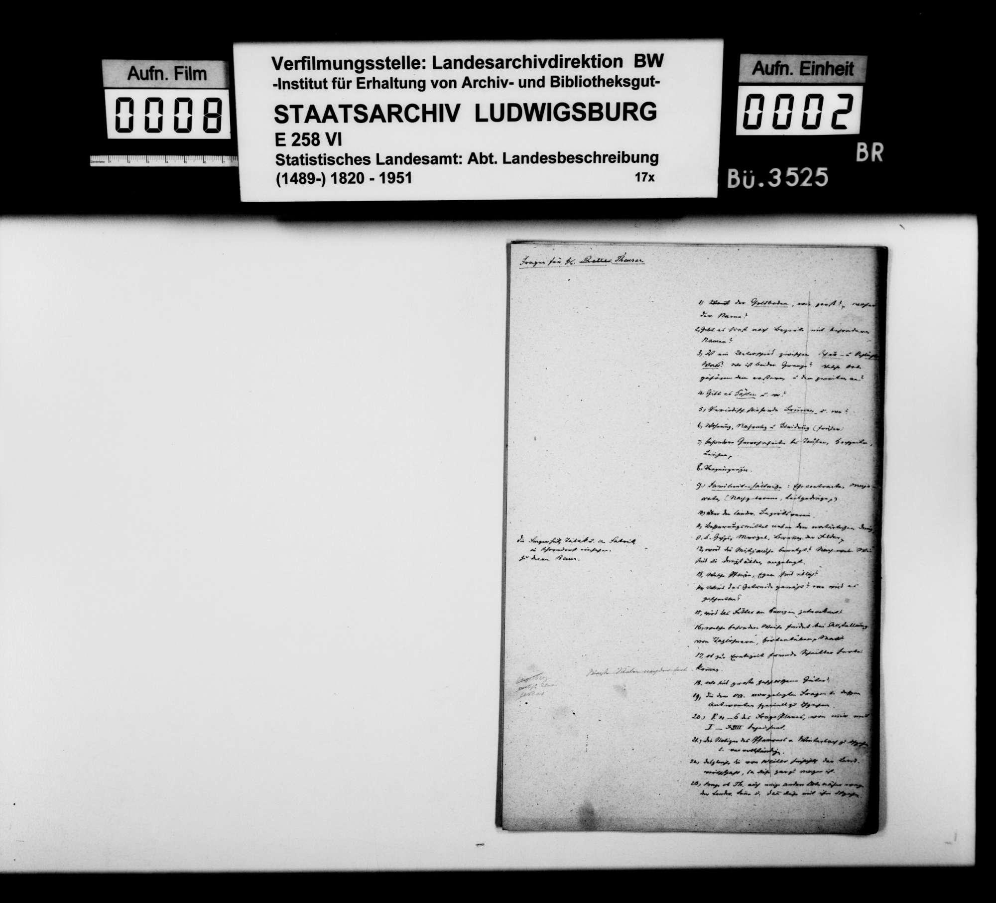 Antworten des Ferdinand Theurer aus Winterbach auf einen Fragenkatalog [des Finanzrats Moser], Bild 1