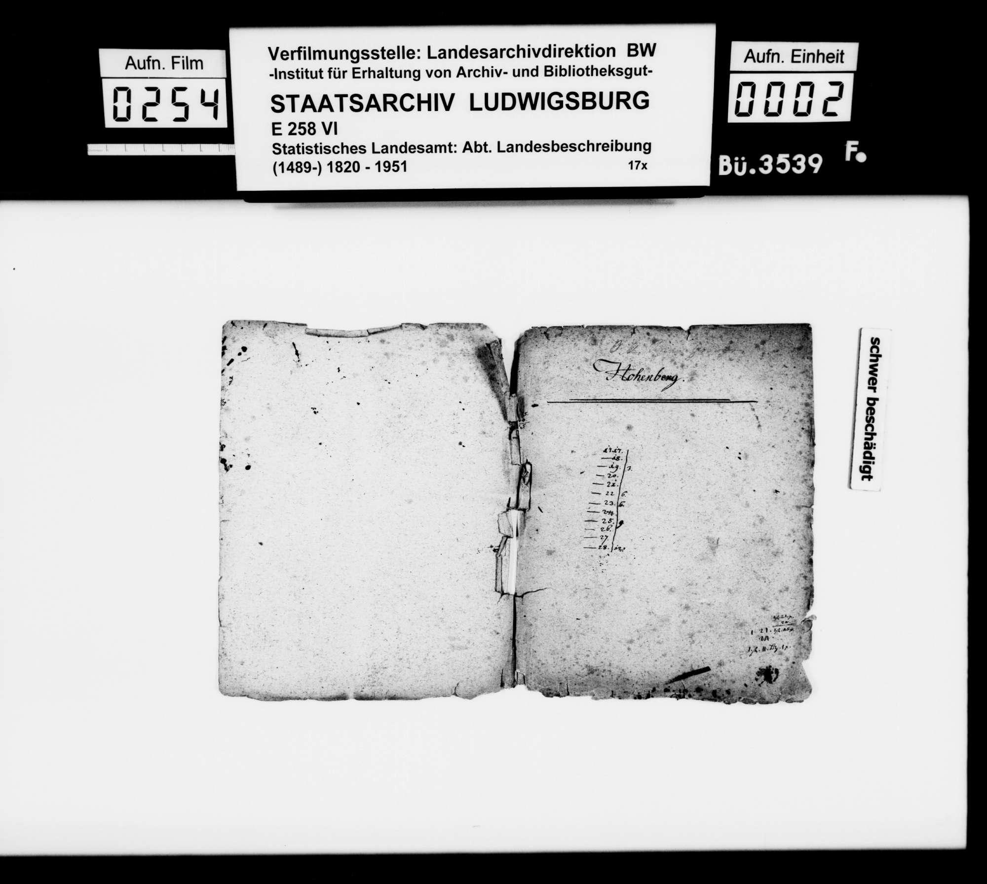 Notizen und Manuskripte [des Pfarrers Köhler aus Marschalkenzimmern] zur Geschichte im Oberamtsbezirk, Bild 1