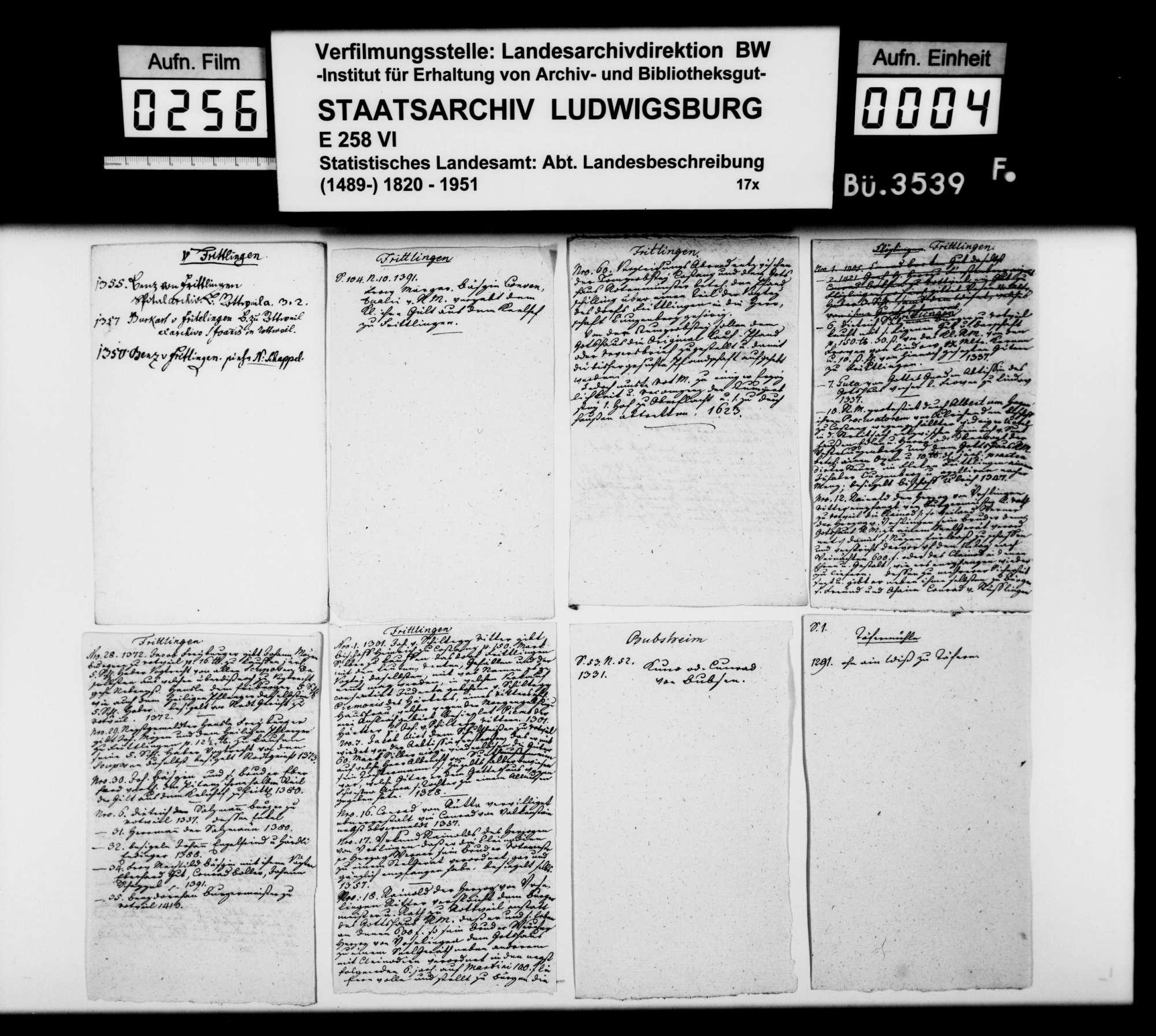 Notizen und Manuskripte [des Pfarrers Köhler aus Marschalkenzimmern] zur Geschichte im Oberamtsbezirk, Bild 3