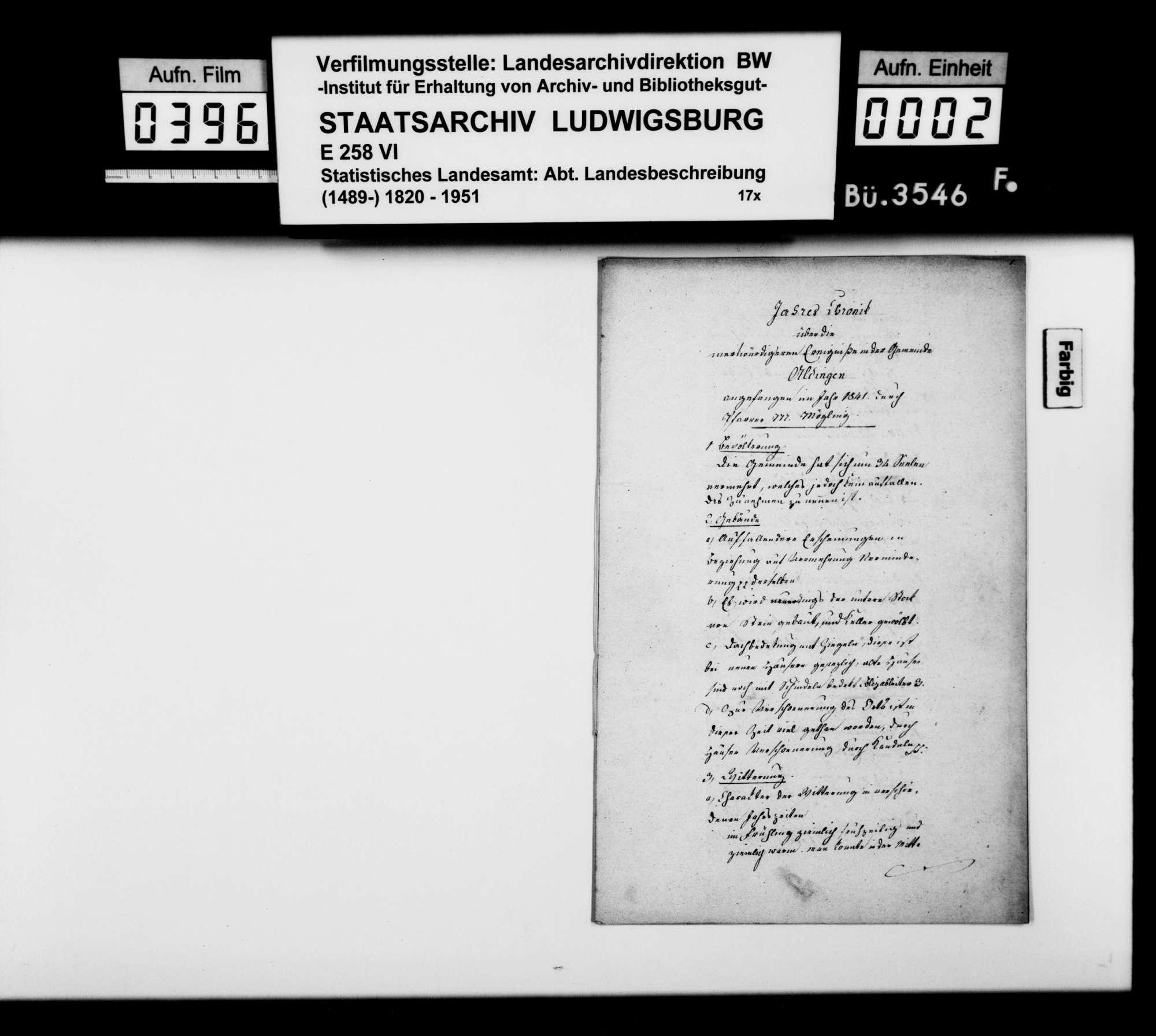 Jahreschronik 1841 von Aldingen, verfaßt von Pfarrer Mögling, Bild 1