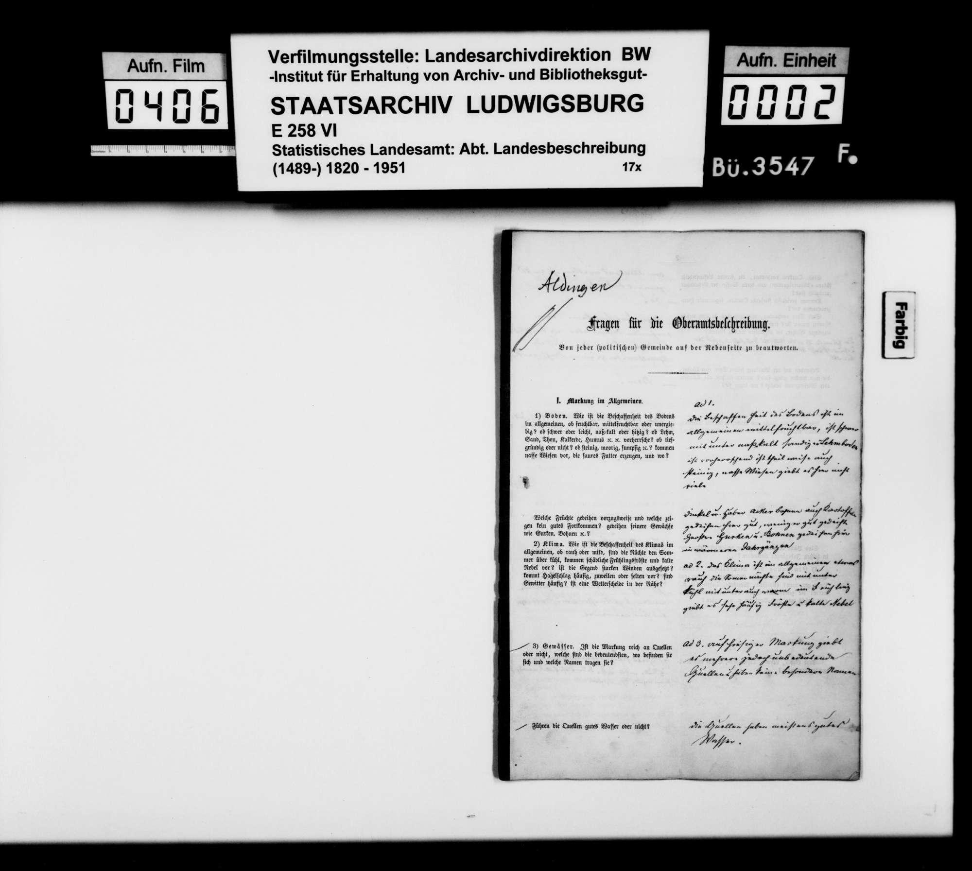 Ortsbeschreibung von Aldingen mit dem vom Gemeinschaftlichen Amt beantworteten gedruckten Fragebogen des STBs, Bild 1