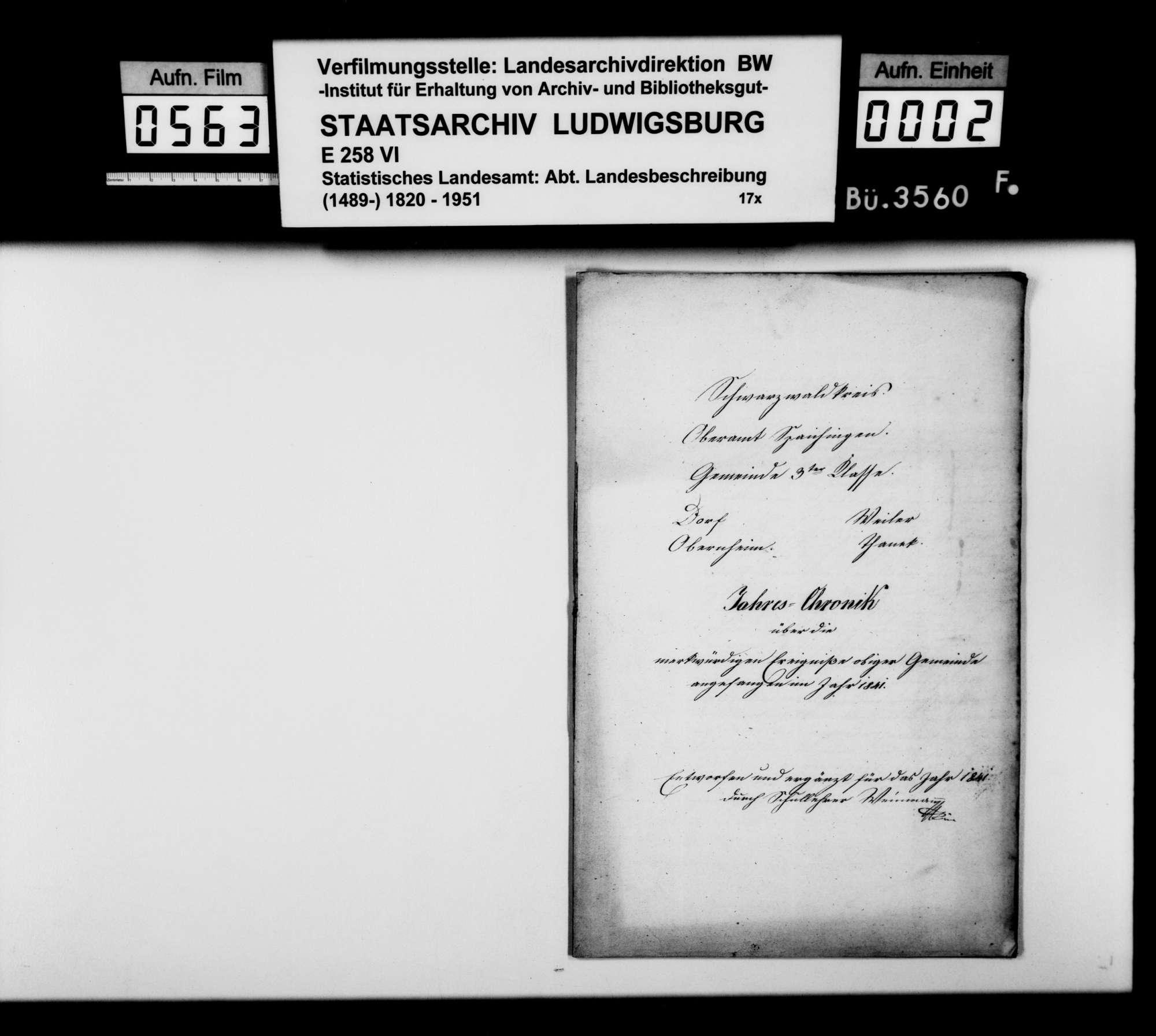 Beschreibung und Jahreschronik 1841 von Obernheim und Tanneck, verfaßt von Schullehrer Weinmann, Bild 1