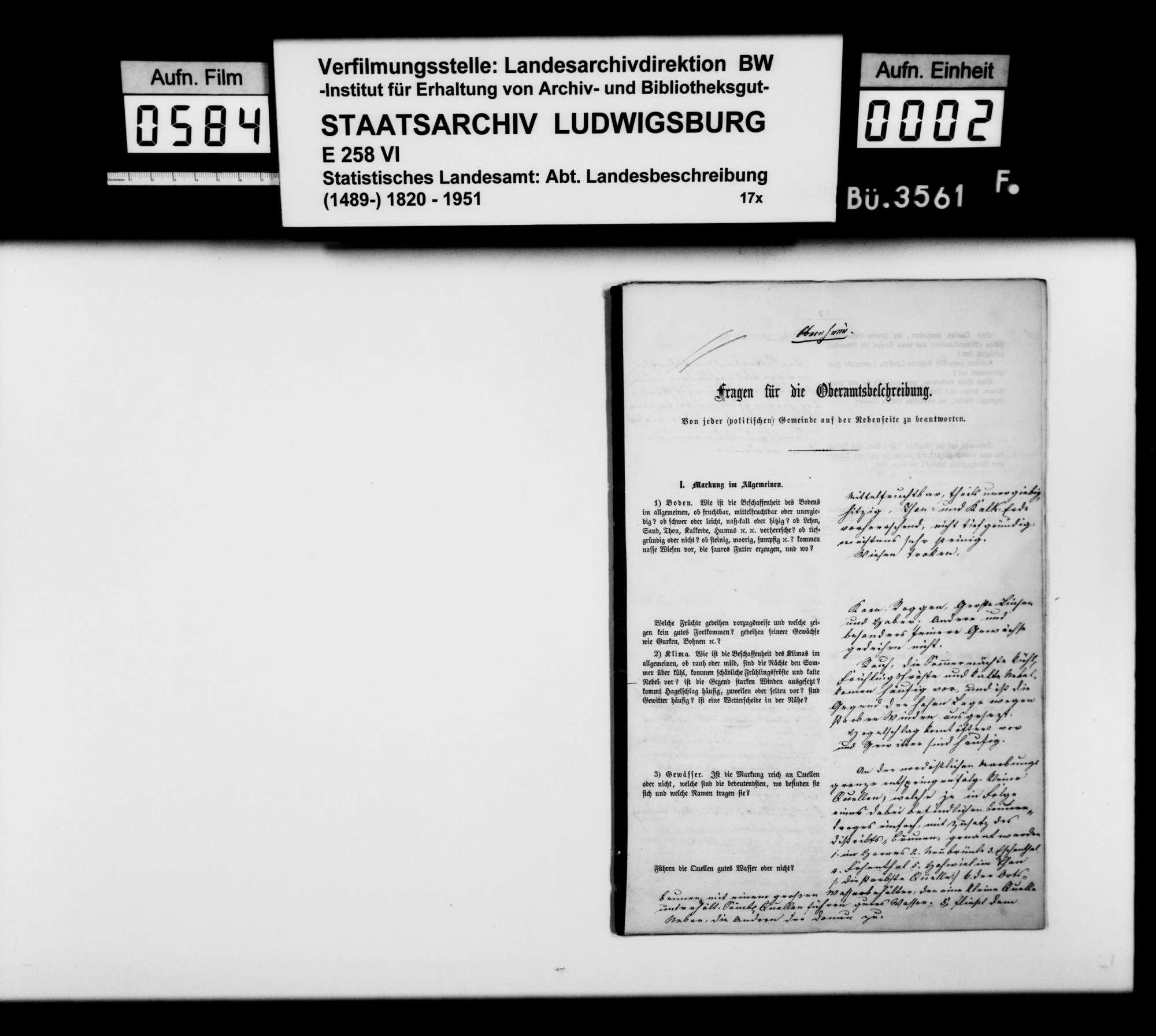 Ortsbeschreibung von Obernheim mit dem vom Gemeinschaftlichen Amt beantworteten gedruckten Fragebogen des STBs, Bild 1