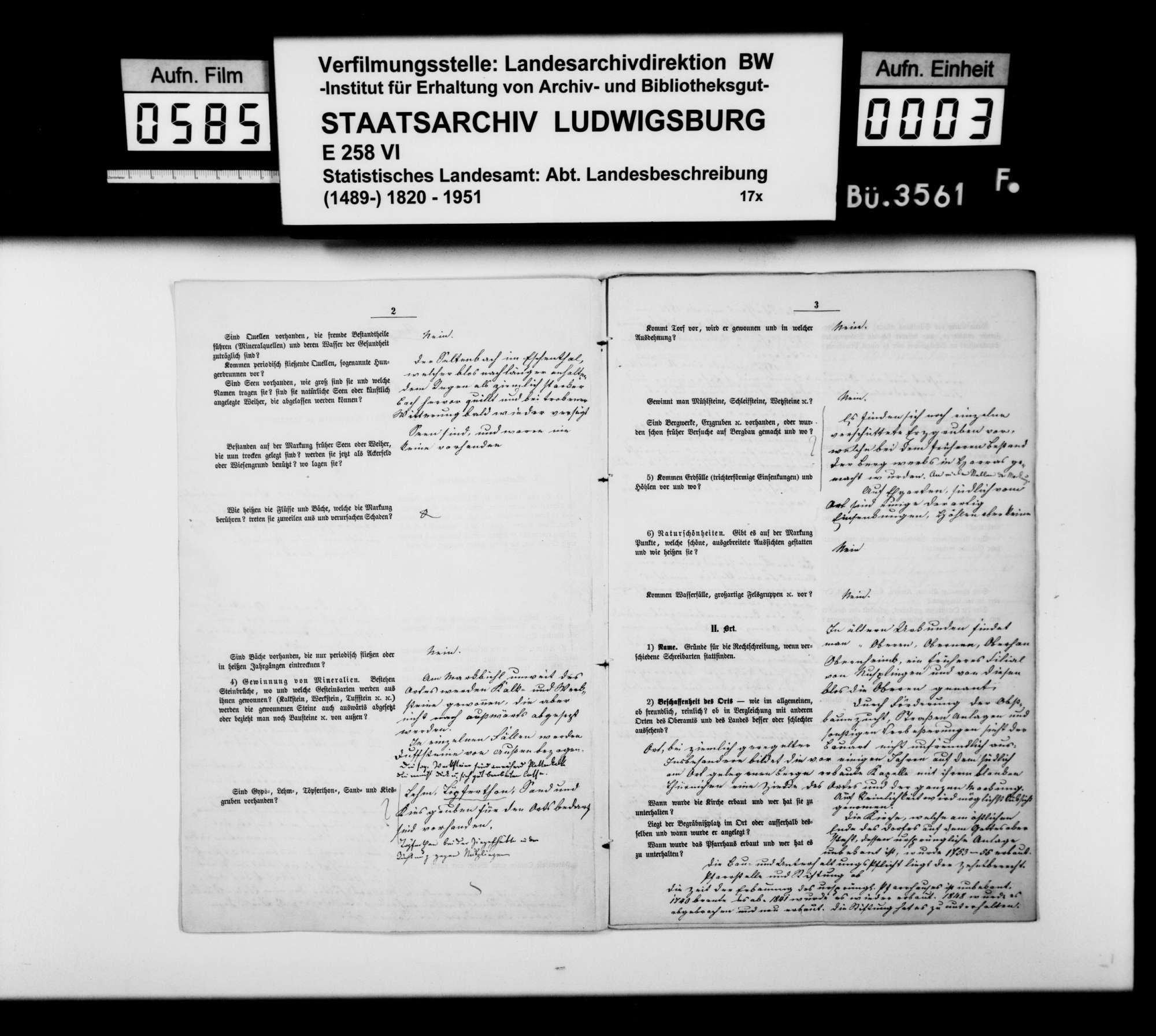 Ortsbeschreibung von Obernheim mit dem vom Gemeinschaftlichen Amt beantworteten gedruckten Fragebogen des STBs, Bild 2