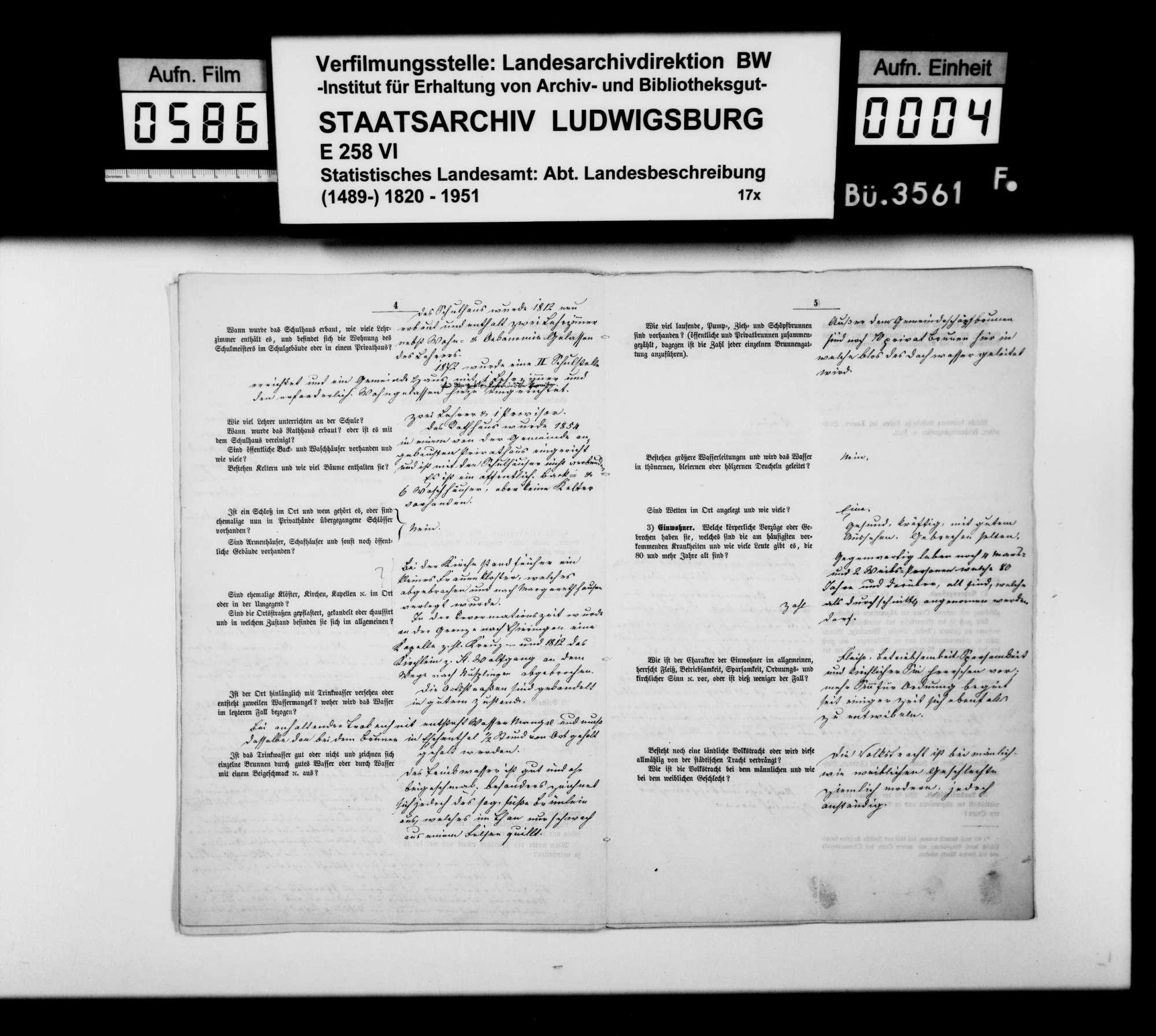 Ortsbeschreibung von Obernheim mit dem vom Gemeinschaftlichen Amt beantworteten gedruckten Fragebogen des STBs, Bild 3