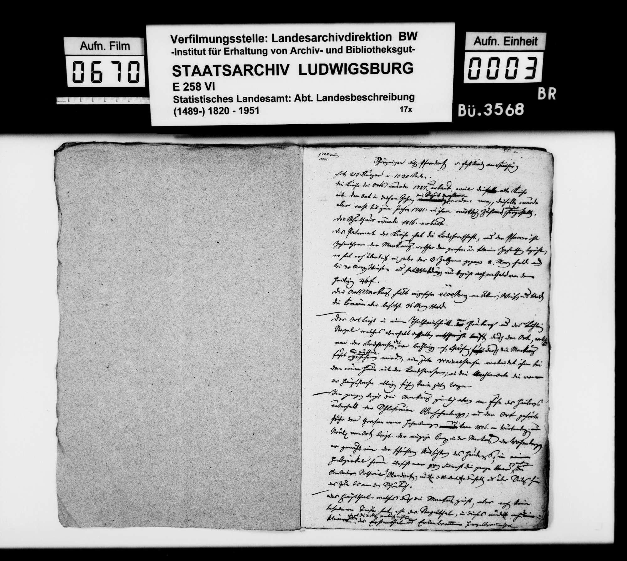 Topographisch-statistische, auch historiographische Notizen des Trigonometers Kohler zu Schörzingen, Frittlingen, Aixheim, Aldingen, Denkingen, Dürbheim, Balgheim und Spaichingen, Bild 2