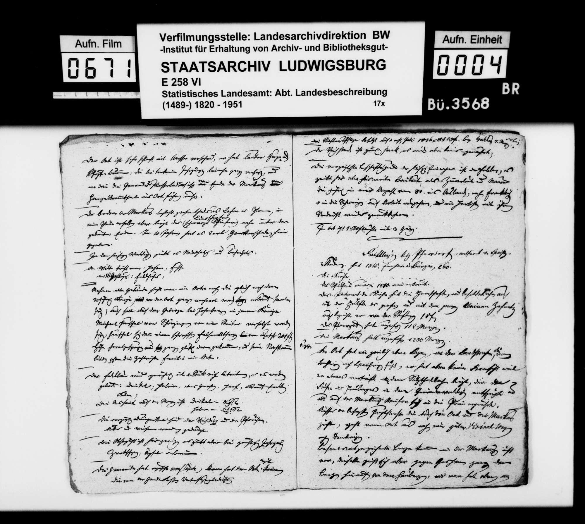 Topographisch-statistische, auch historiographische Notizen des Trigonometers Kohler zu Schörzingen, Frittlingen, Aixheim, Aldingen, Denkingen, Dürbheim, Balgheim und Spaichingen, Bild 3