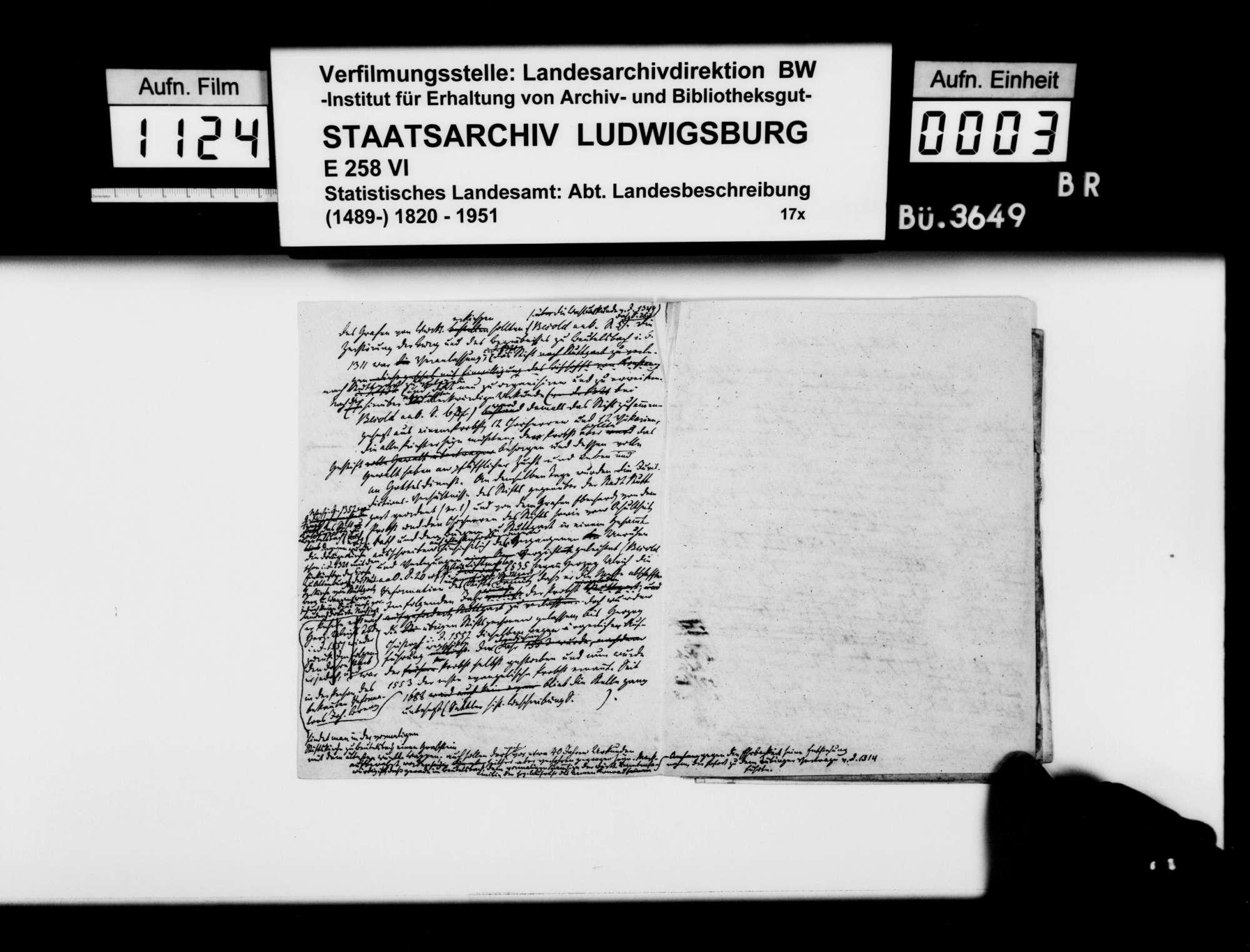 Verlegung des Chorherrenstifts von Beutelsbach nach Stuttgart, o.Verf., mit gedruckten Documenta Eccles[iae] Stuetgardiensis [vermutlich Hd. 5794] S. 3-12, 17-22, 27-30, mit handschriftlichen Korrekturen, Bild 2