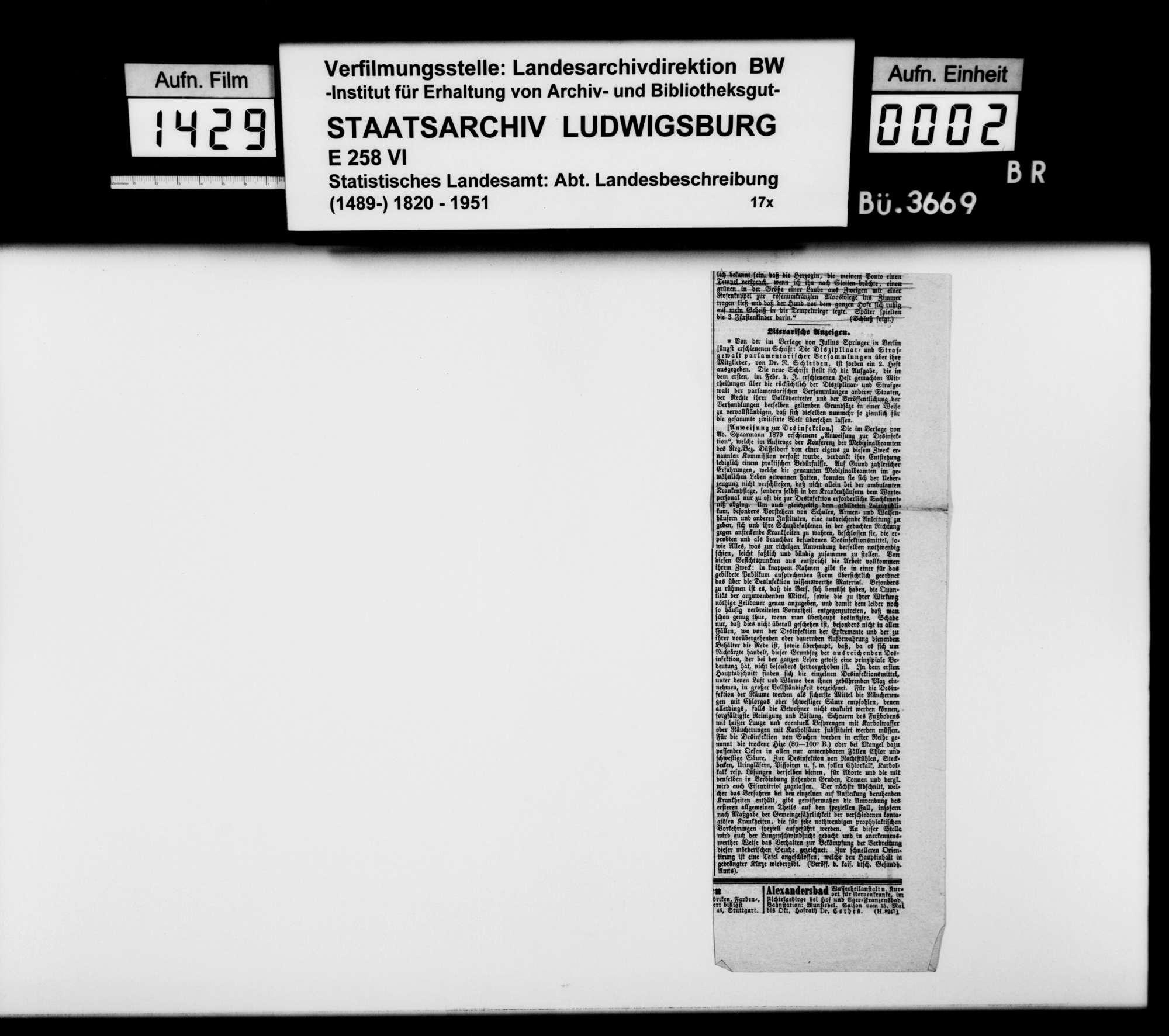 Sammlung von Periodika und Zeitungsausschnitten für eine Neubearbeitung der Beschreibung des Stadtdirektionsbezirks, Bild 1