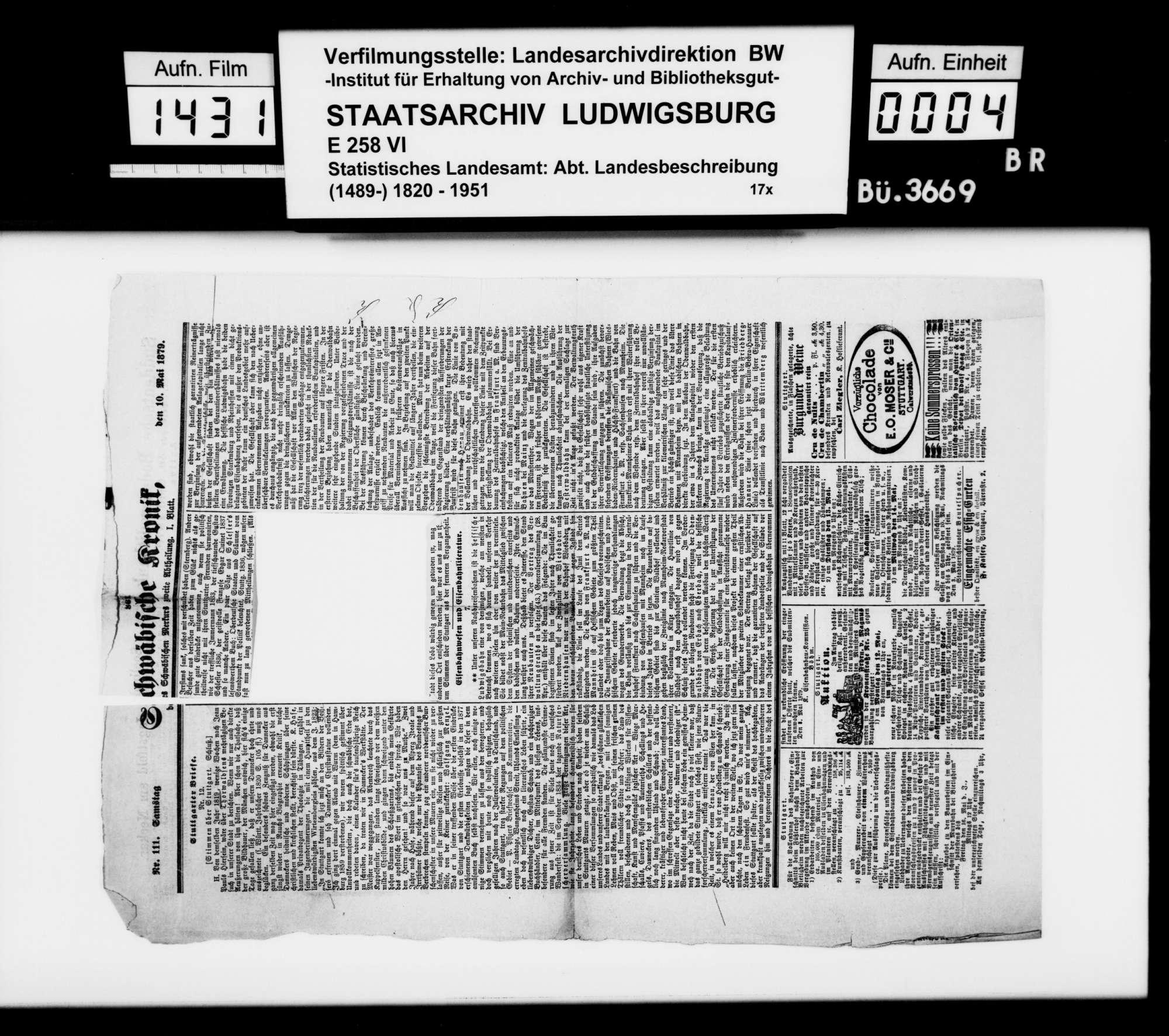 Sammlung von Periodika und Zeitungsausschnitten für eine Neubearbeitung der Beschreibung des Stadtdirektionsbezirks, Bild 2