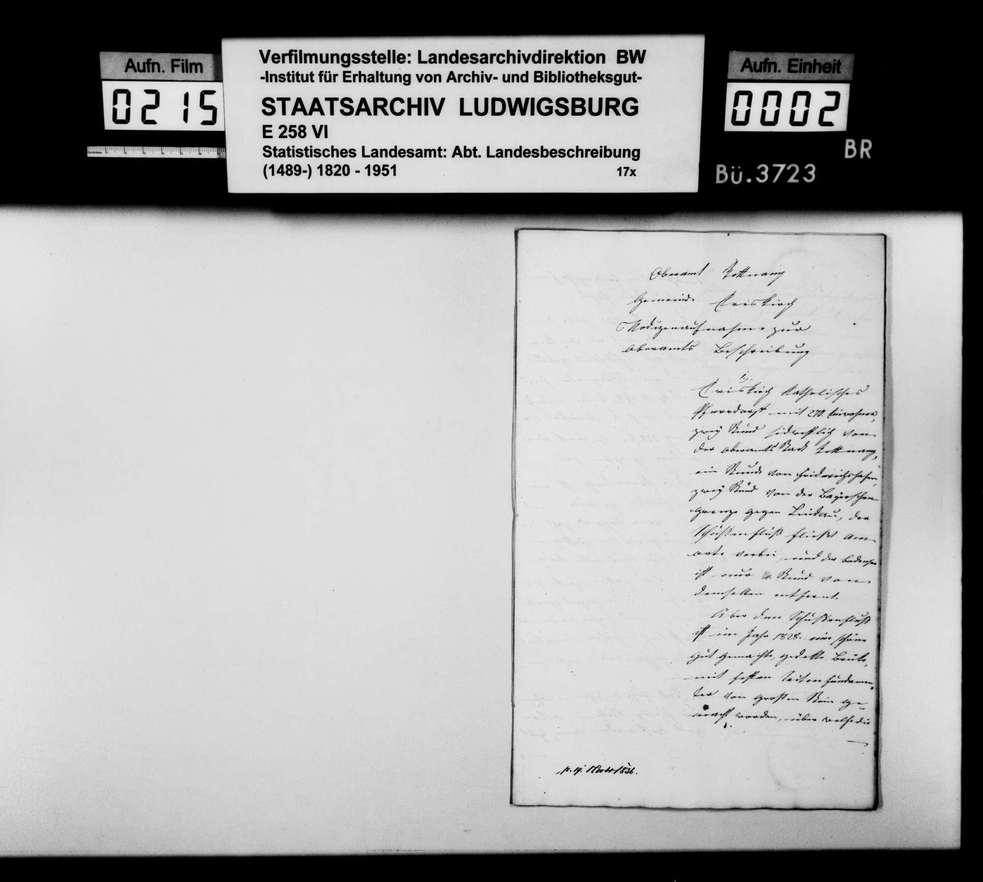 Beschreibung des Gemeindebezirks Eriskirch durch Schultheiß Lanz und den Gemeinderat, Bild 1
