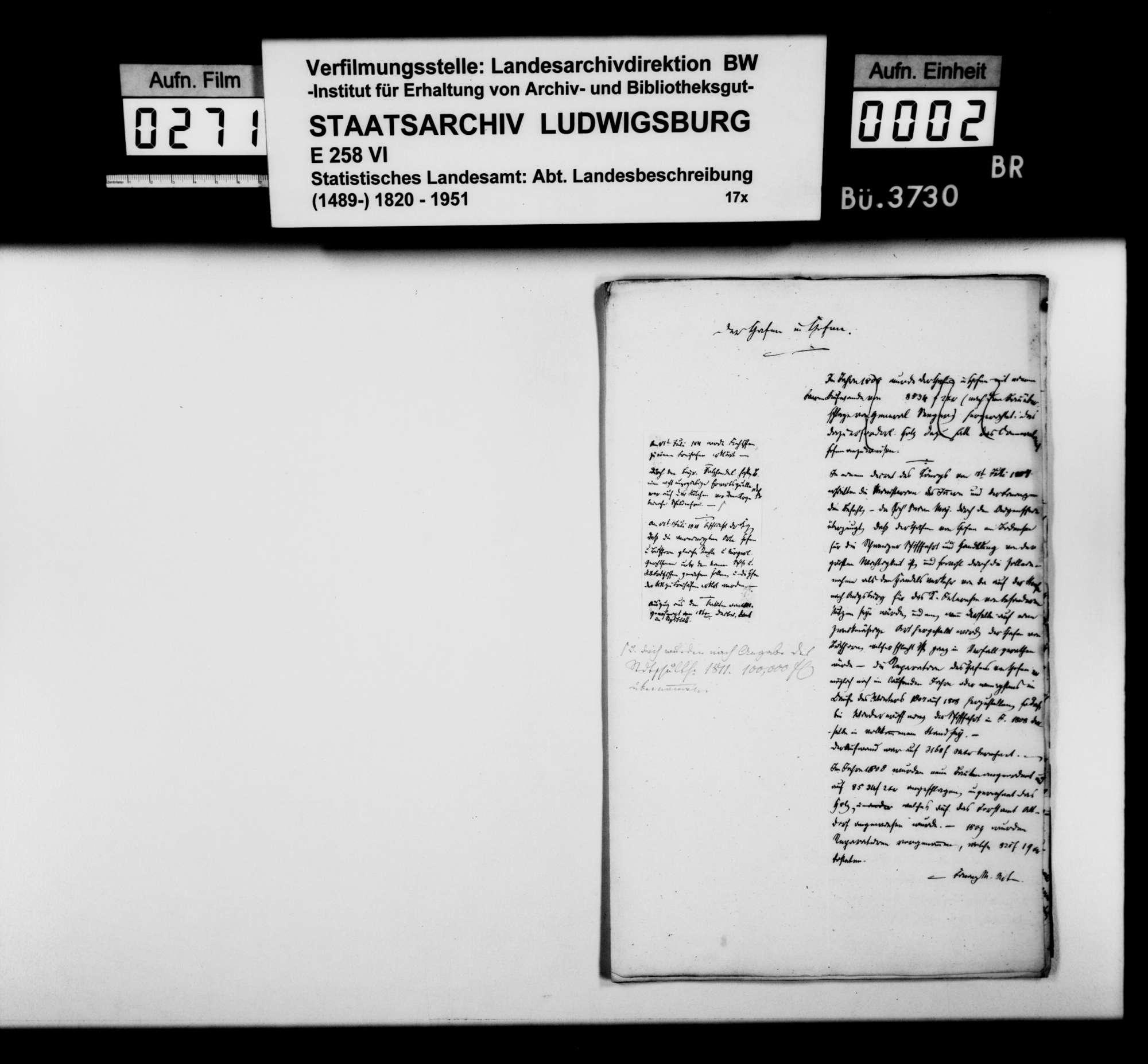 Geschichte von Kloster und Dorf Hofen [aufgegangen in Friedrichshafen; von Kanzleiassistent Heinrich Rigel im STB], Bild 1
