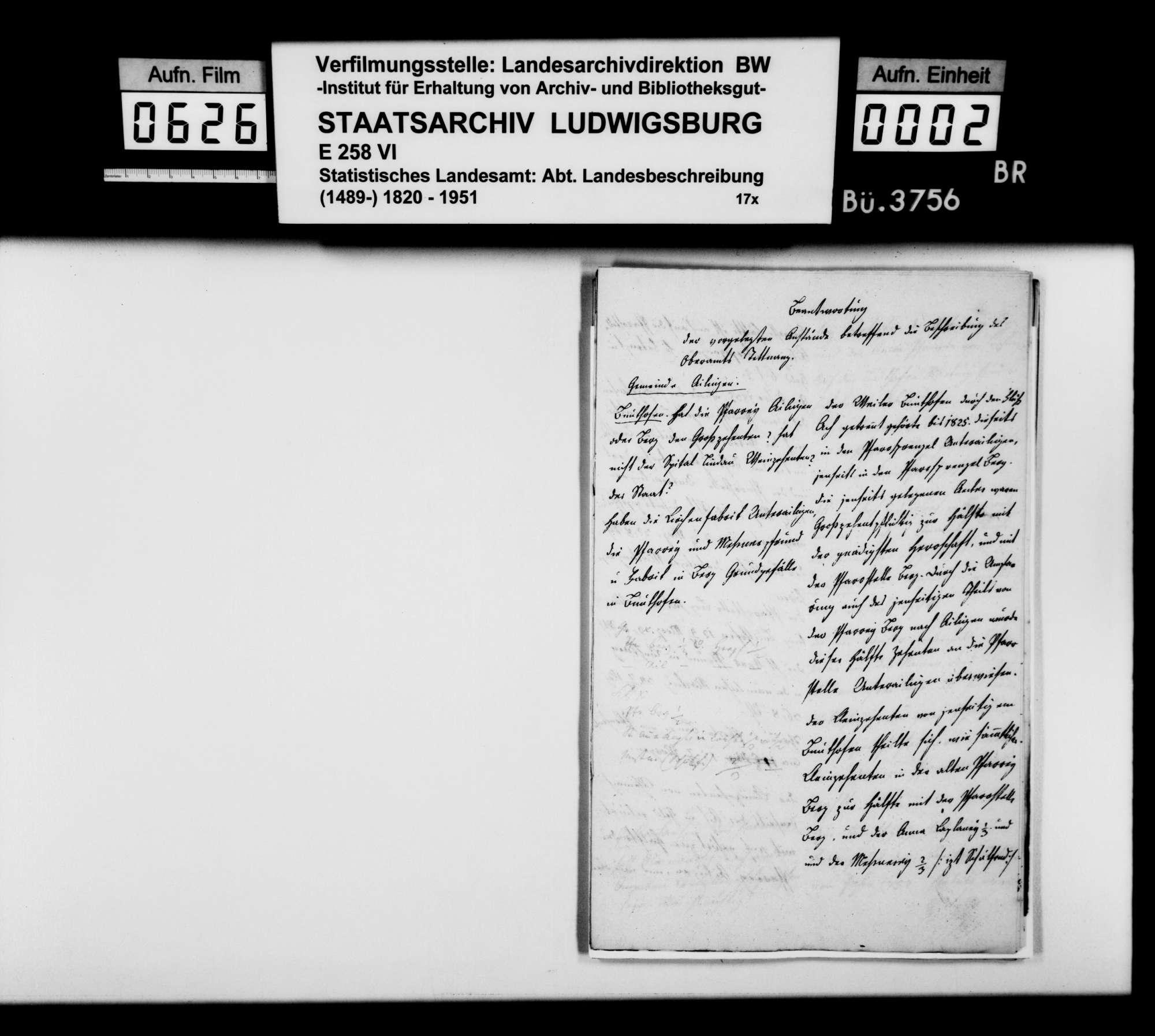Anstände und Nachfragen zum Teil B (Ortsbeschreibung) der OAB, beantwortet von Oberamtmann Walther, Bild 1