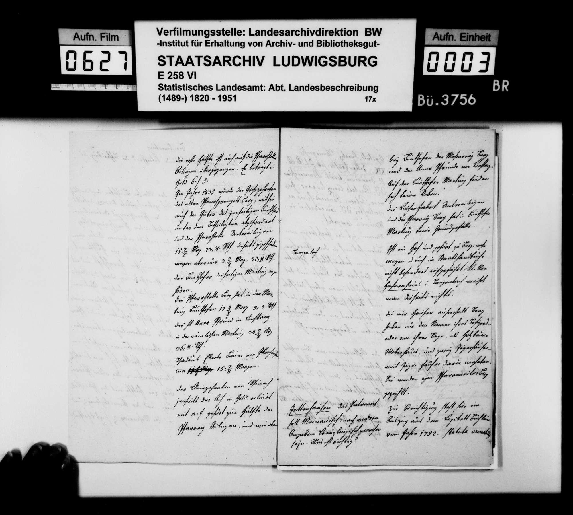 Anstände und Nachfragen zum Teil B (Ortsbeschreibung) der OAB, beantwortet von Oberamtmann Walther, Bild 2