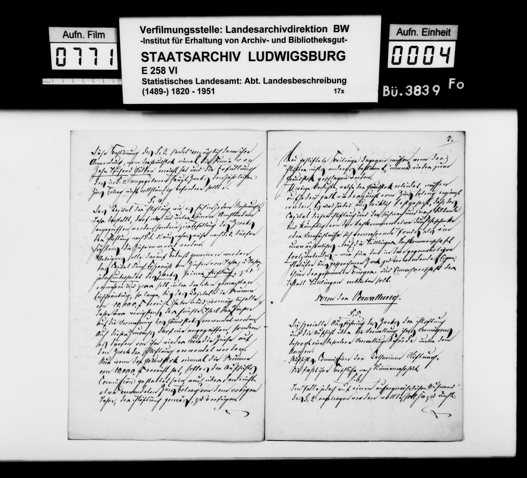 Urkunde über die Stiftung der Königin Katharina zugunsten der Stadtarmen in Tuttlingen 1824, Kopie 1875, Bild 3