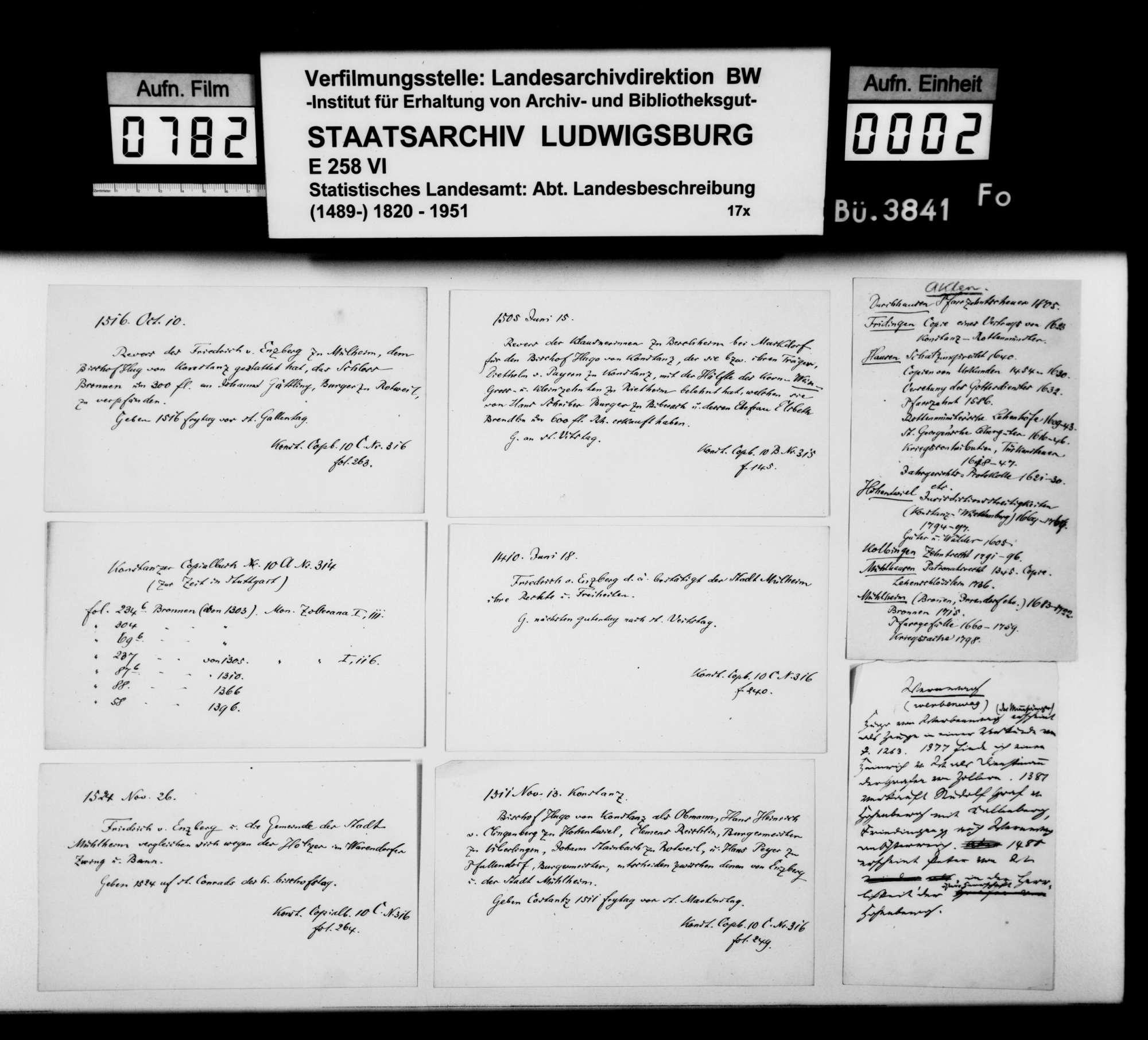 Notizen und Regesten zu Bronnen, Rietheim, Mühlheim, auch Kallenberg und Werenwag [Ghgt. Baden] sowie Auszüge aus einem Repertorium zu diversen Oberamtsorten, Bild 1