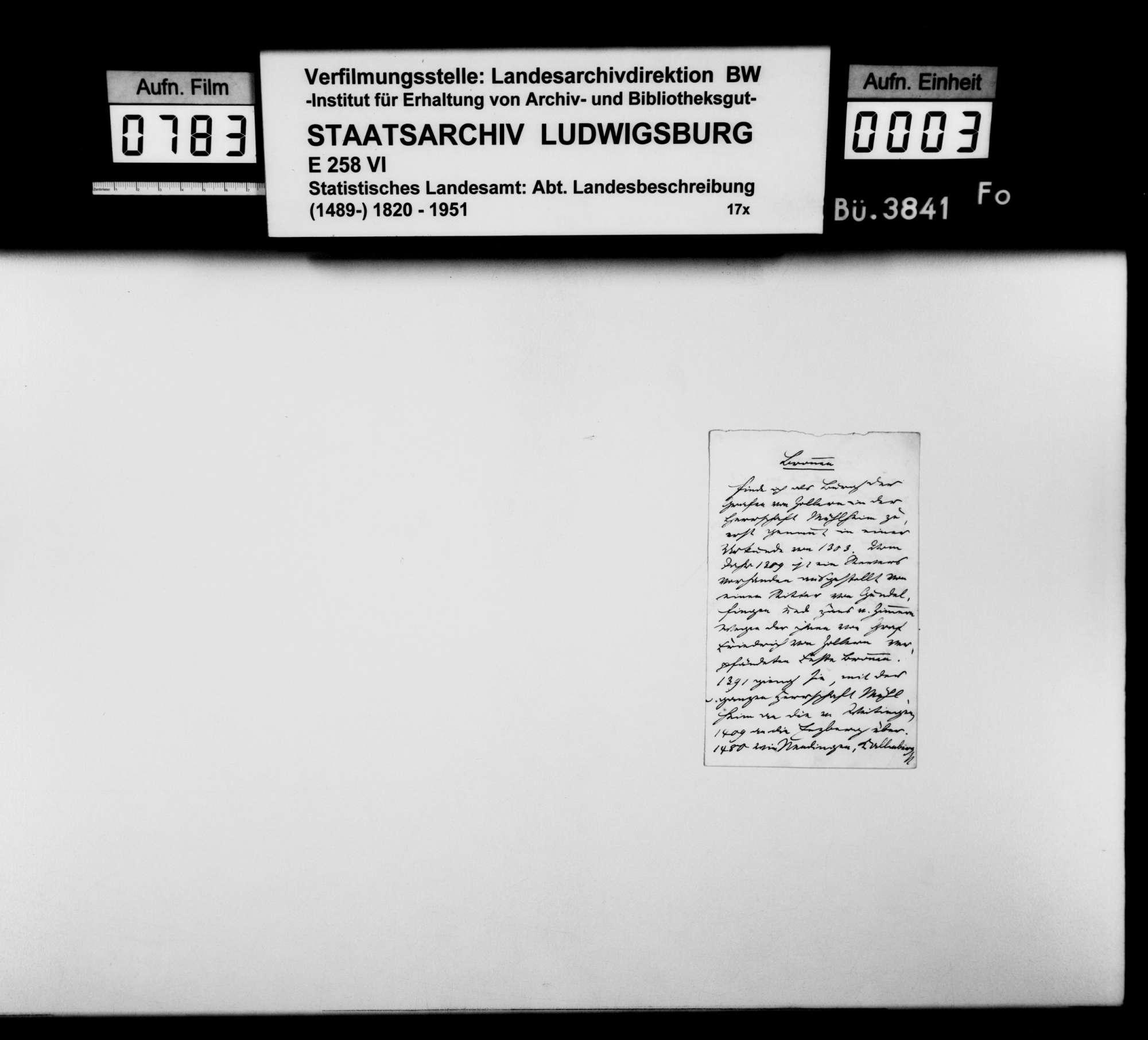 Notizen und Regesten zu Bronnen, Rietheim, Mühlheim, auch Kallenberg und Werenwag [Ghgt. Baden] sowie Auszüge aus einem Repertorium zu diversen Oberamtsorten, Bild 2