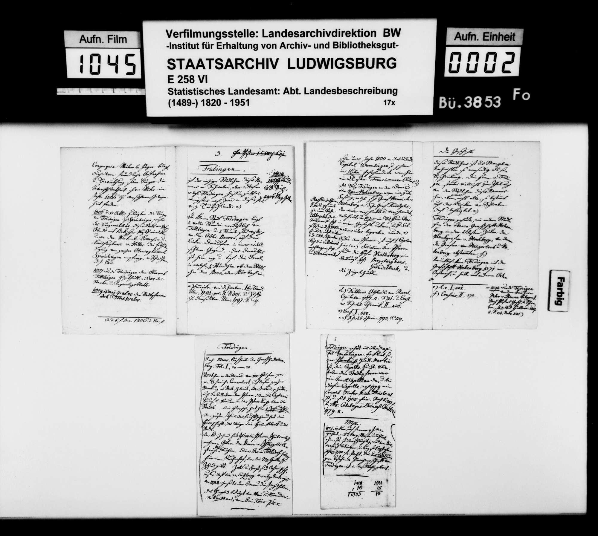 Notizen [des Pfarrers Köhler aus Marschalkenzimmern] zur Topographie, Statistik und Geschichte von Fridingen a.d. Donau, Bild 1
