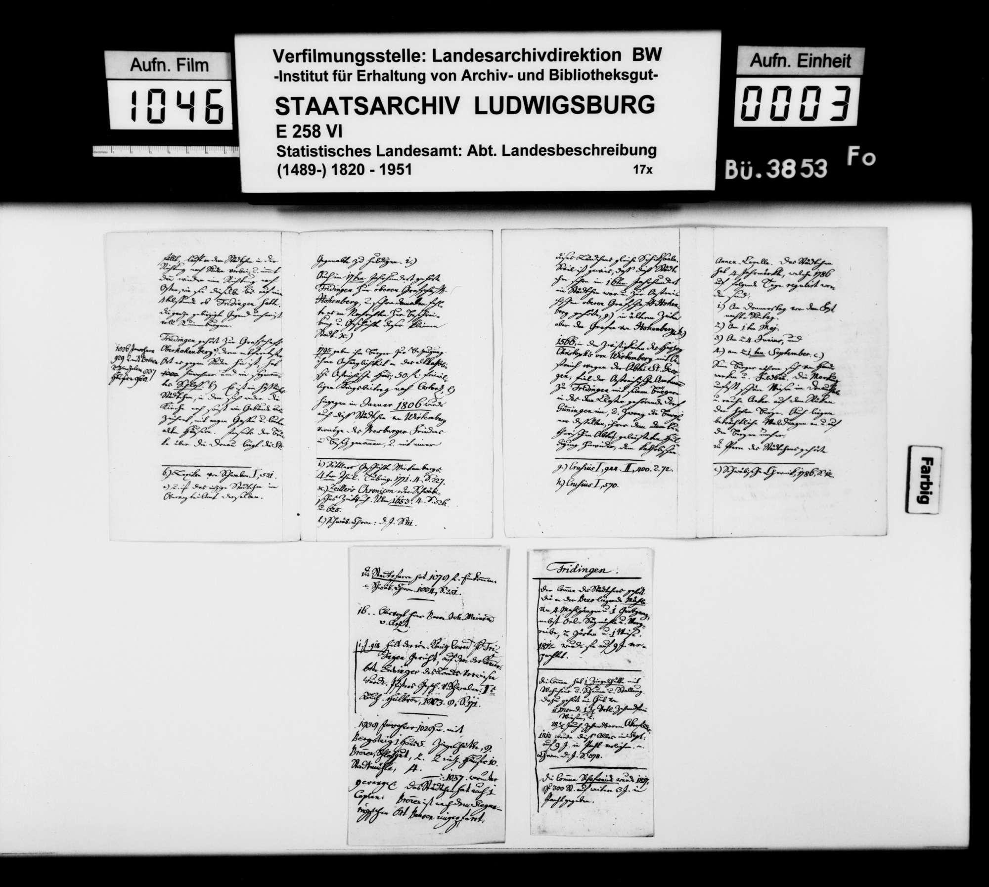 Notizen [des Pfarrers Köhler aus Marschalkenzimmern] zur Topographie, Statistik und Geschichte von Fridingen a.d. Donau, Bild 2