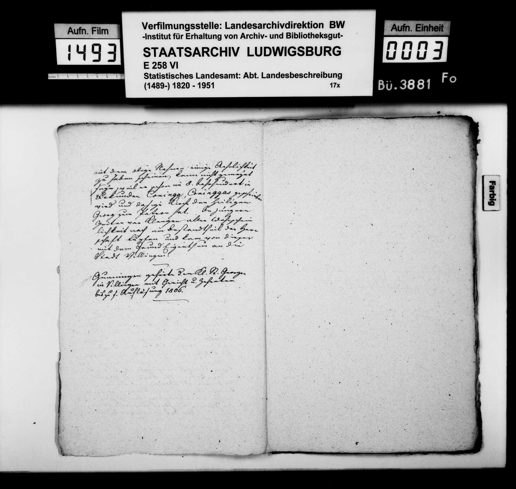Notizen [aus der Sammlung des Finanzrats Heinrich Zeller aus Reutlingen, zuvor Rottweil] zu den politischen Gemeinden des Oberamts [ohne Durchhausen und Fridingen], Bild 2