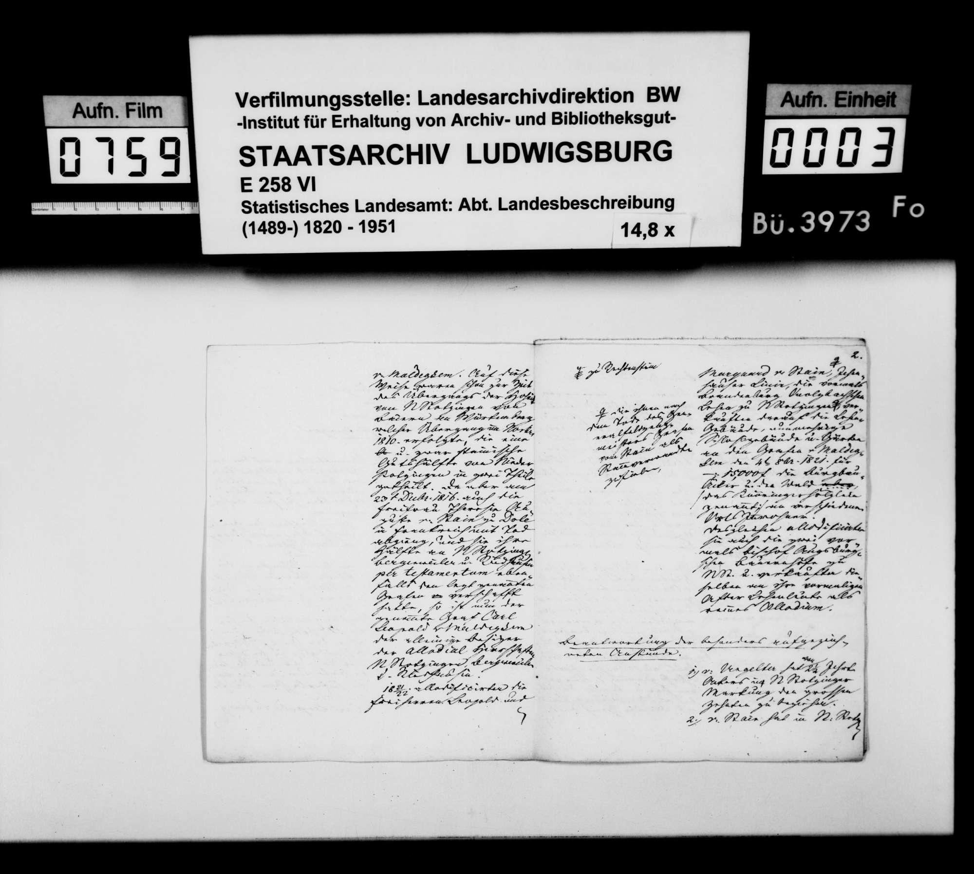 Korrekturen und Nachträge des Rentamtmanns Keller aus Niederstotzingen zum Manuskript der Ortsbeschreibung von Ober- und Niederstotzingen, Bild 2