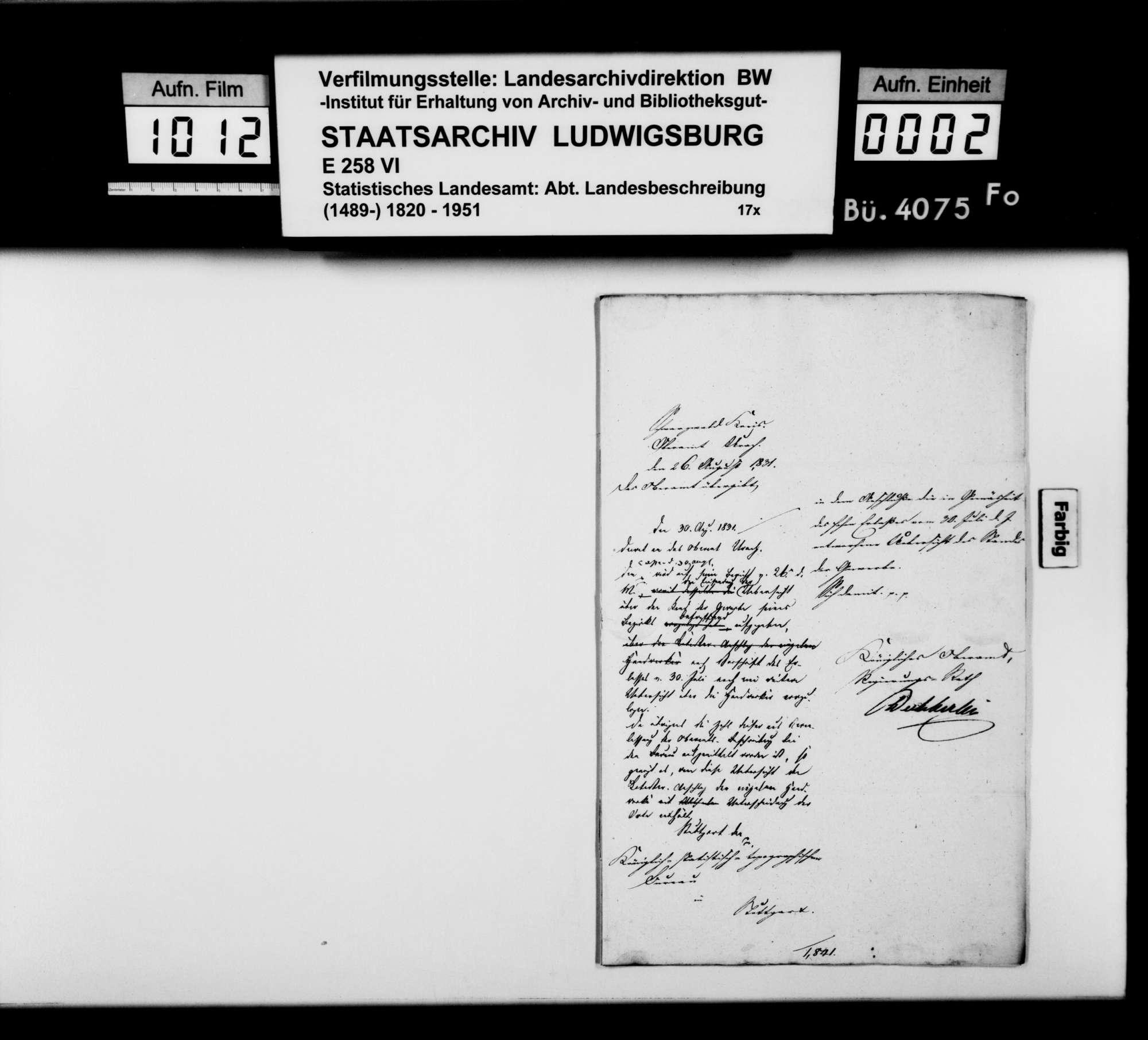 Gewerbestatistik des Oberamts nach der Katasteraufnahme von 1829, Bild 1