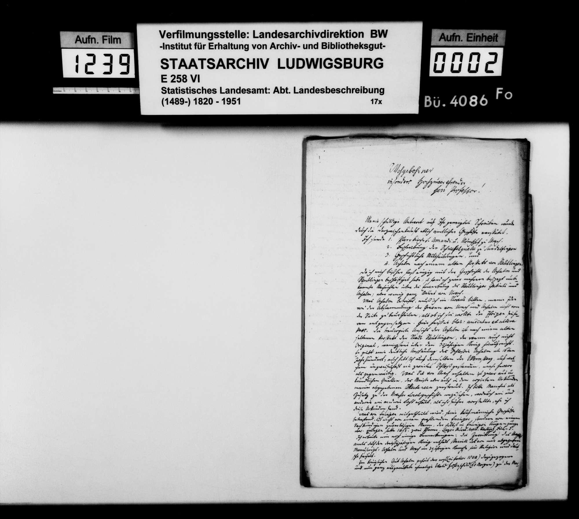 Antworten auf Nachfragen von Johann Daniel Georg Memminger zu Details der OAB, Bild 1