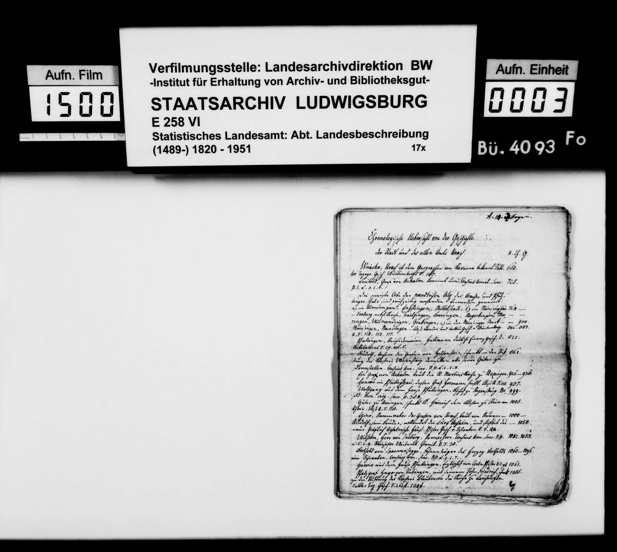 Manuskripte und Notizen des Pfarrers Gratianus aus Hengen zur Geschichte von Urach und Umgebung, Bild 1
