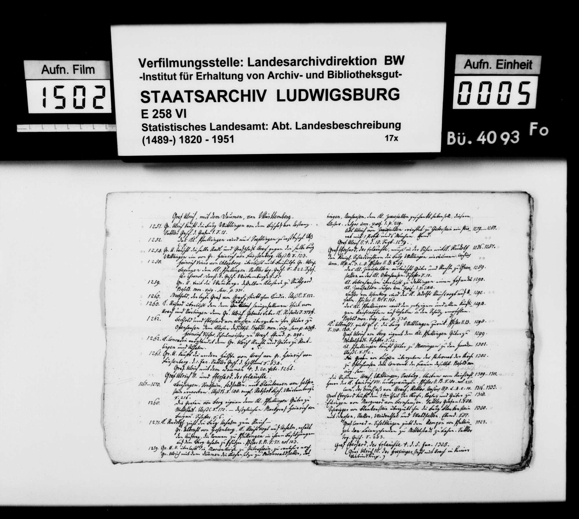 Manuskripte und Notizen des Pfarrers Gratianus aus Hengen zur Geschichte von Urach und Umgebung, Bild 3