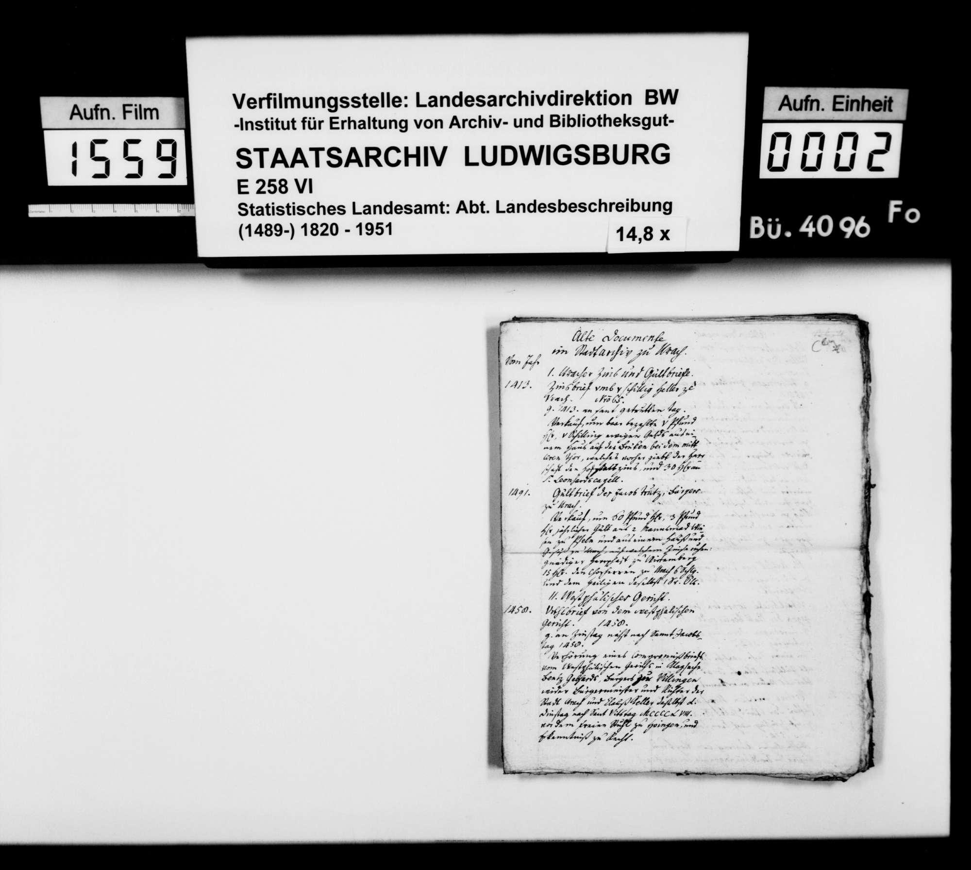 Abschriften des Pfarrers Gratianus aus Hengen zur Geschichte von Urach und Umgebung, Bild 1
