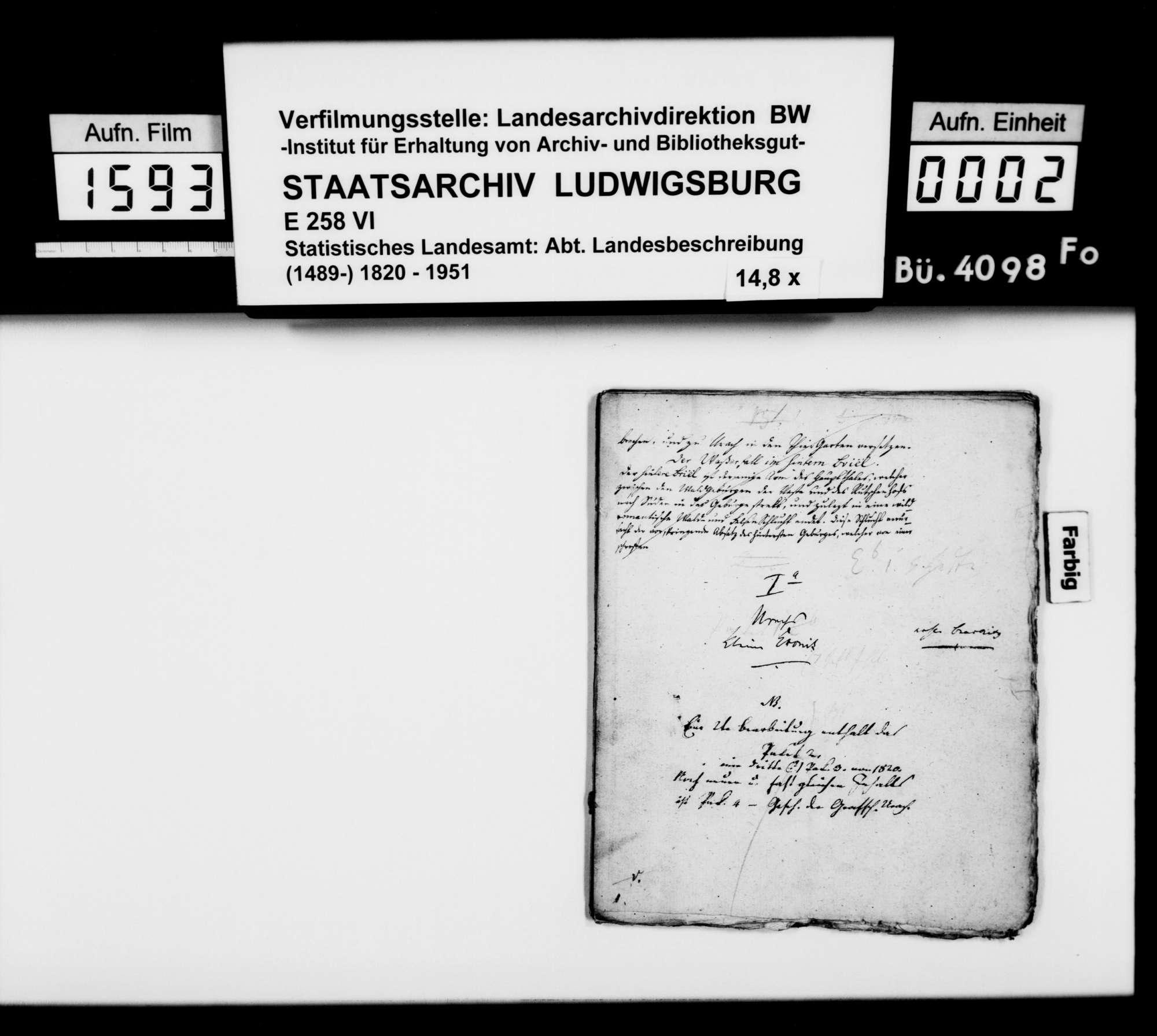 Manuskript des Pfarrers [Karl Christian] Gratianus aus Hengen: Urachs kleine Chronik, 1. Buch: Die Stadt. Erste Bearbeitungsstufe, Bild 1