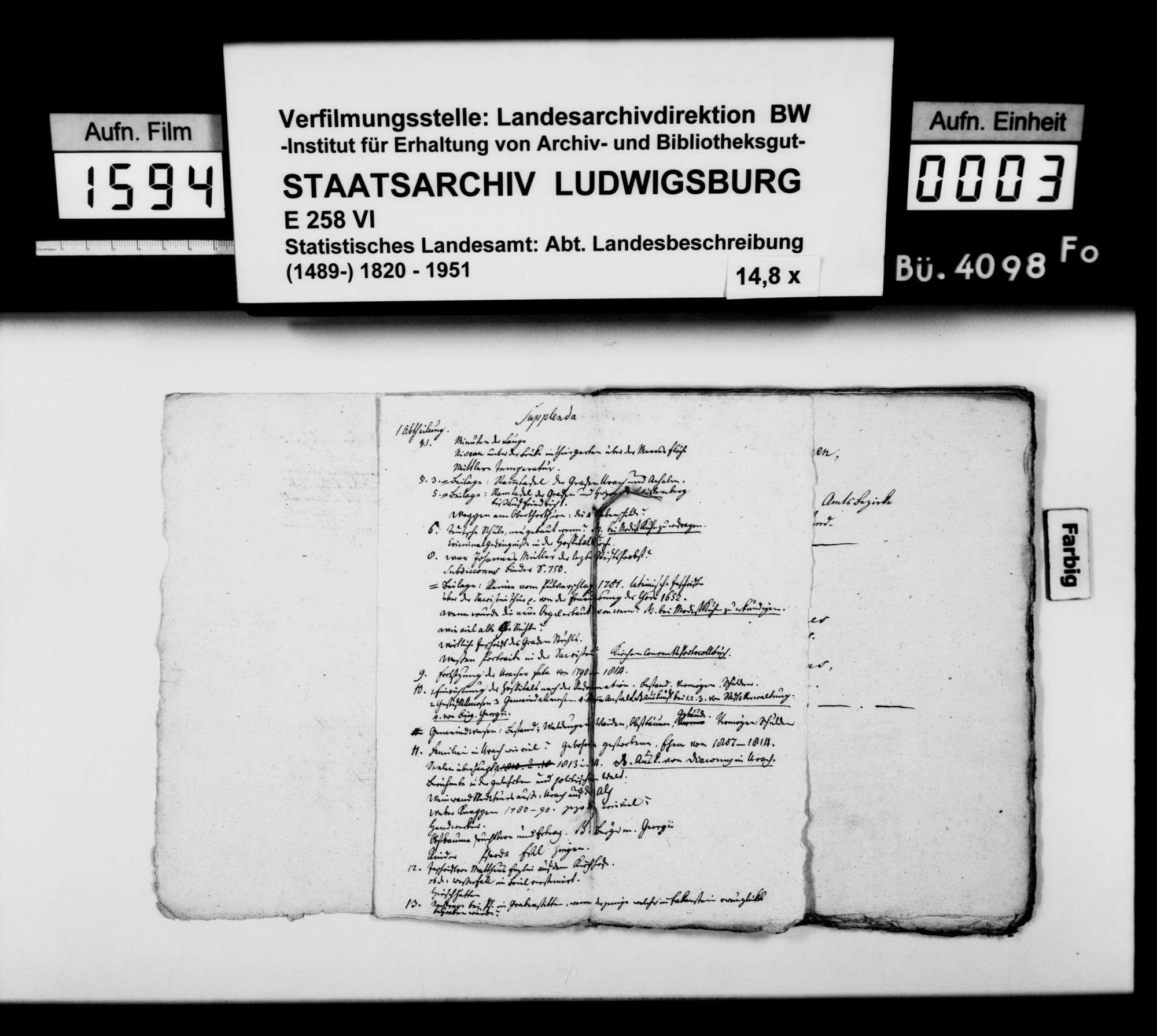 Manuskript des Pfarrers [Karl Christian] Gratianus aus Hengen: Urachs kleine Chronik, 1. Buch: Die Stadt. Erste Bearbeitungsstufe, Bild 2