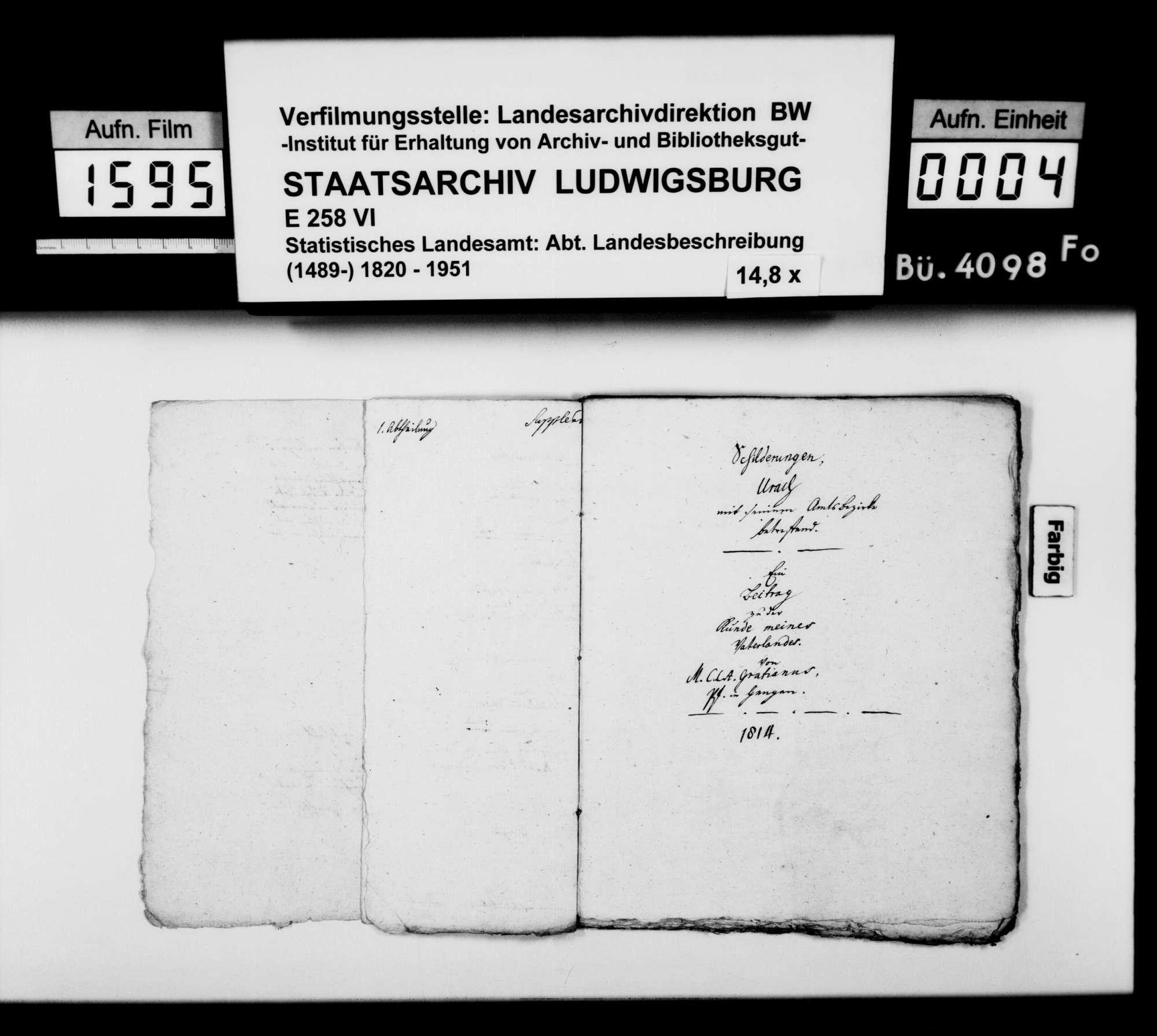 Manuskript des Pfarrers [Karl Christian] Gratianus aus Hengen: Urachs kleine Chronik, 1. Buch: Die Stadt. Erste Bearbeitungsstufe, Bild 3