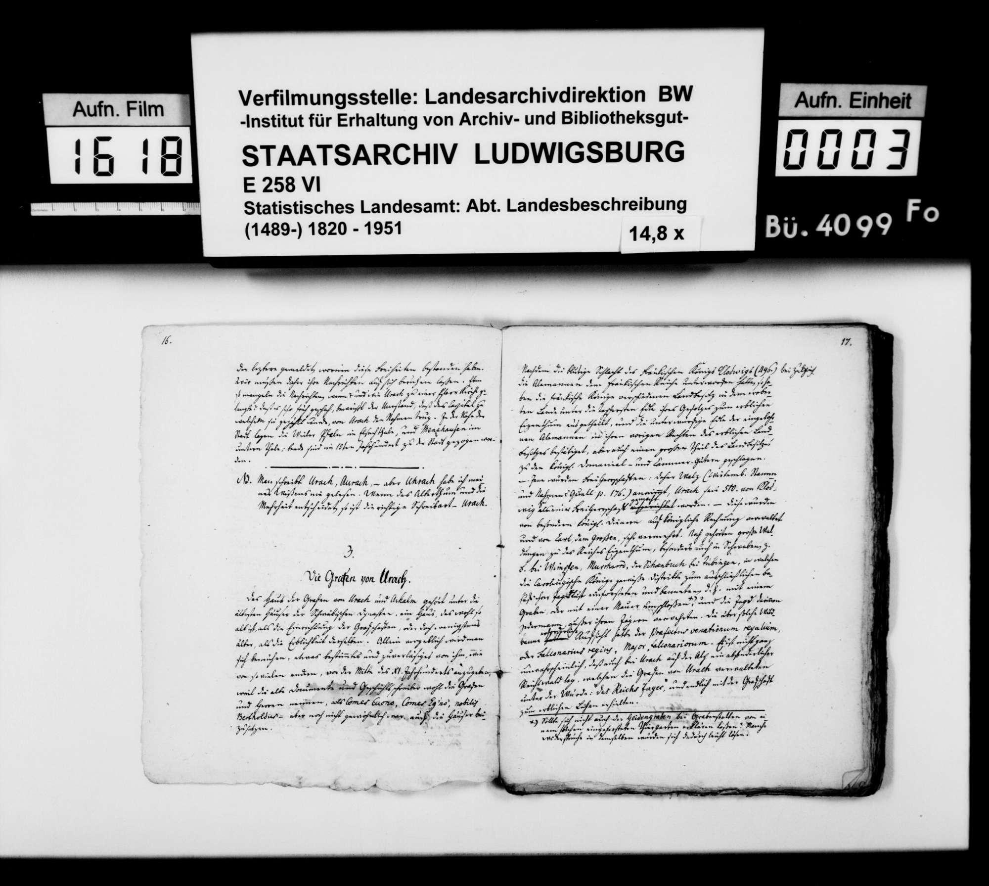 Manuskript des Pfarrers [Karl Christian] Gratianus aus Hengen: Urachs kleine Chronik, 1. Buch: Die Stadt. Zweite Bearbeitungsstufe, Bild 2