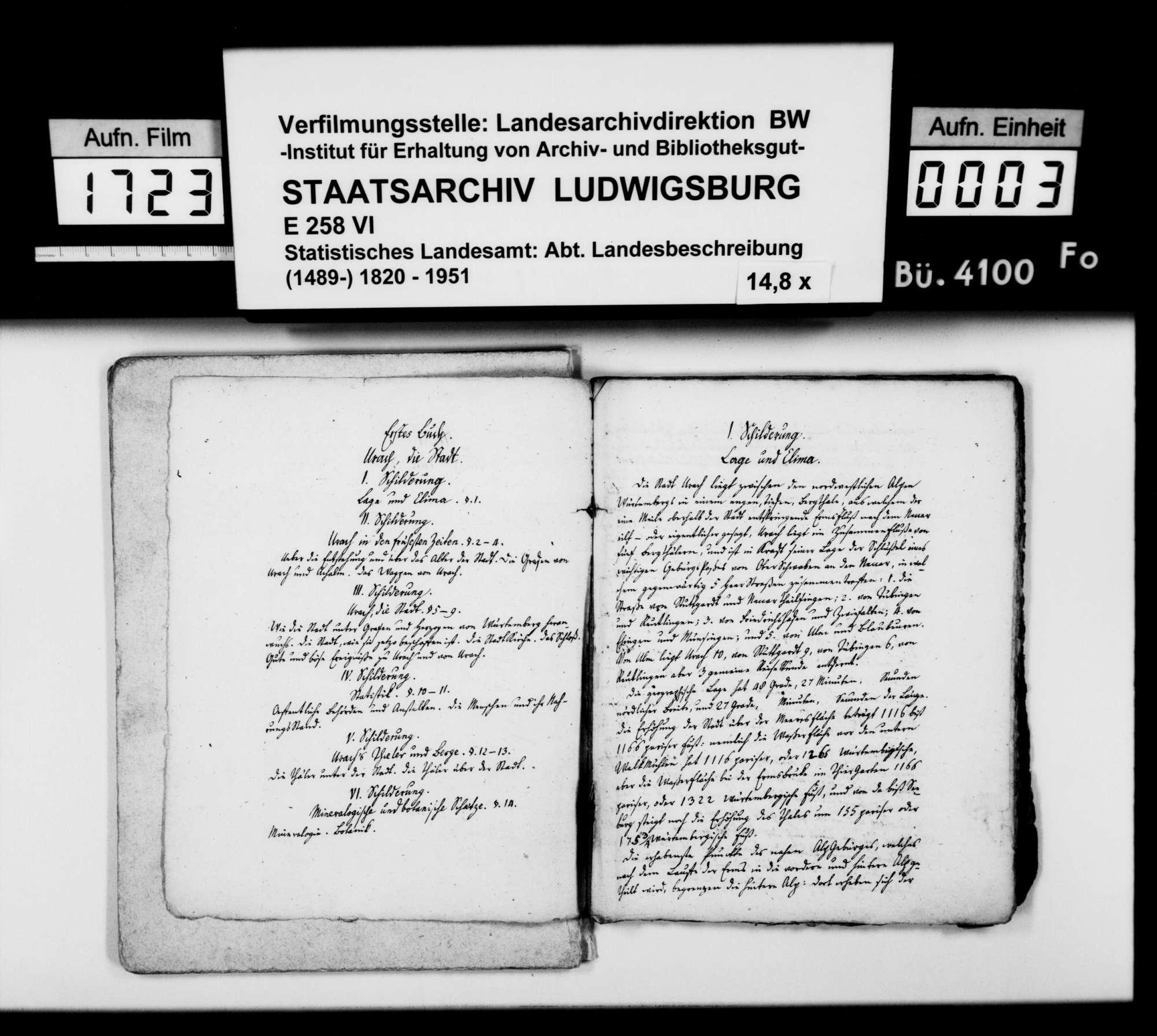 Manuskript des Pfarrers [Karl Christian] Gratianus aus Hengen: Urachs kleine Chronik, 1. Buch: Die Stadt. Dritte Bearbeitungsstufe, Bild 2