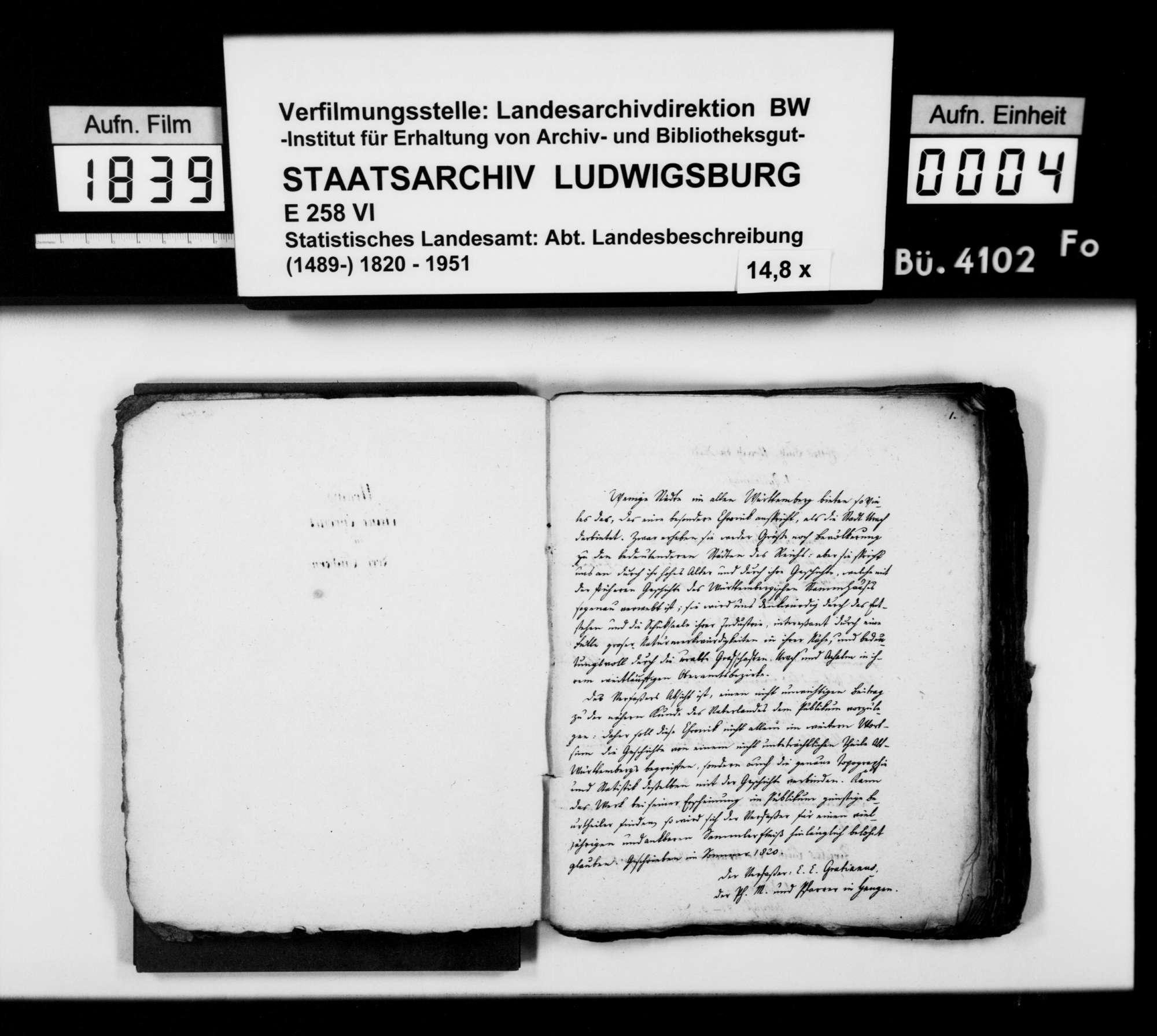 Manuskript des Pfarrers [Karl Christian] Gratianus aus Hengen: Urachs kleine Chronik, 1. Buch: Die Stadt. Fünfte Bearbeitungsstufe, Bild 3