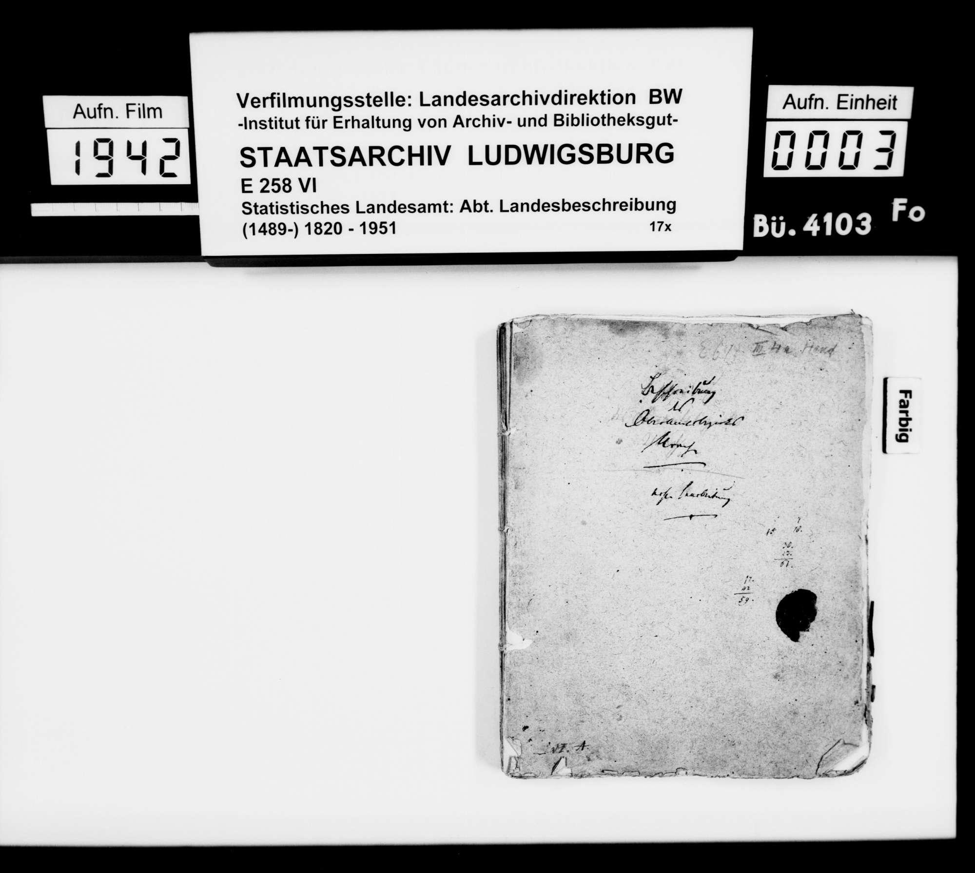 Manuskript des Pfarrers [Karl Christian] Gratianus aus Hengen: Urachs kleine Chronik, 2. und 3. Buch: Das Oberamt. Zweite Bearbeitungsstufe, Bild 1