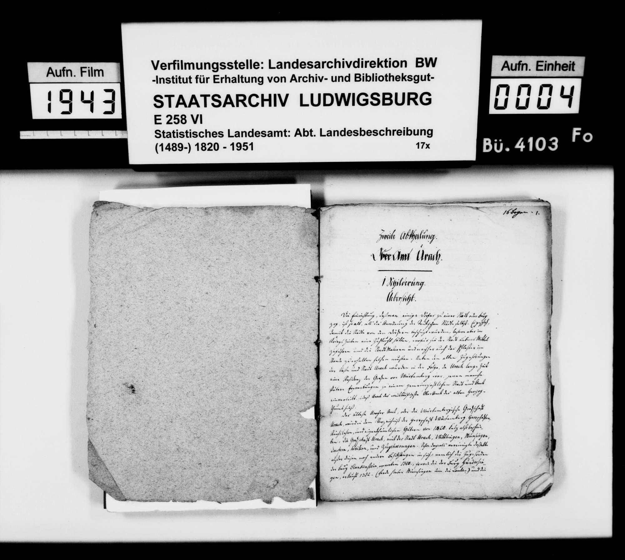 Manuskript des Pfarrers [Karl Christian] Gratianus aus Hengen: Urachs kleine Chronik, 2. und 3. Buch: Das Oberamt. Zweite Bearbeitungsstufe, Bild 2