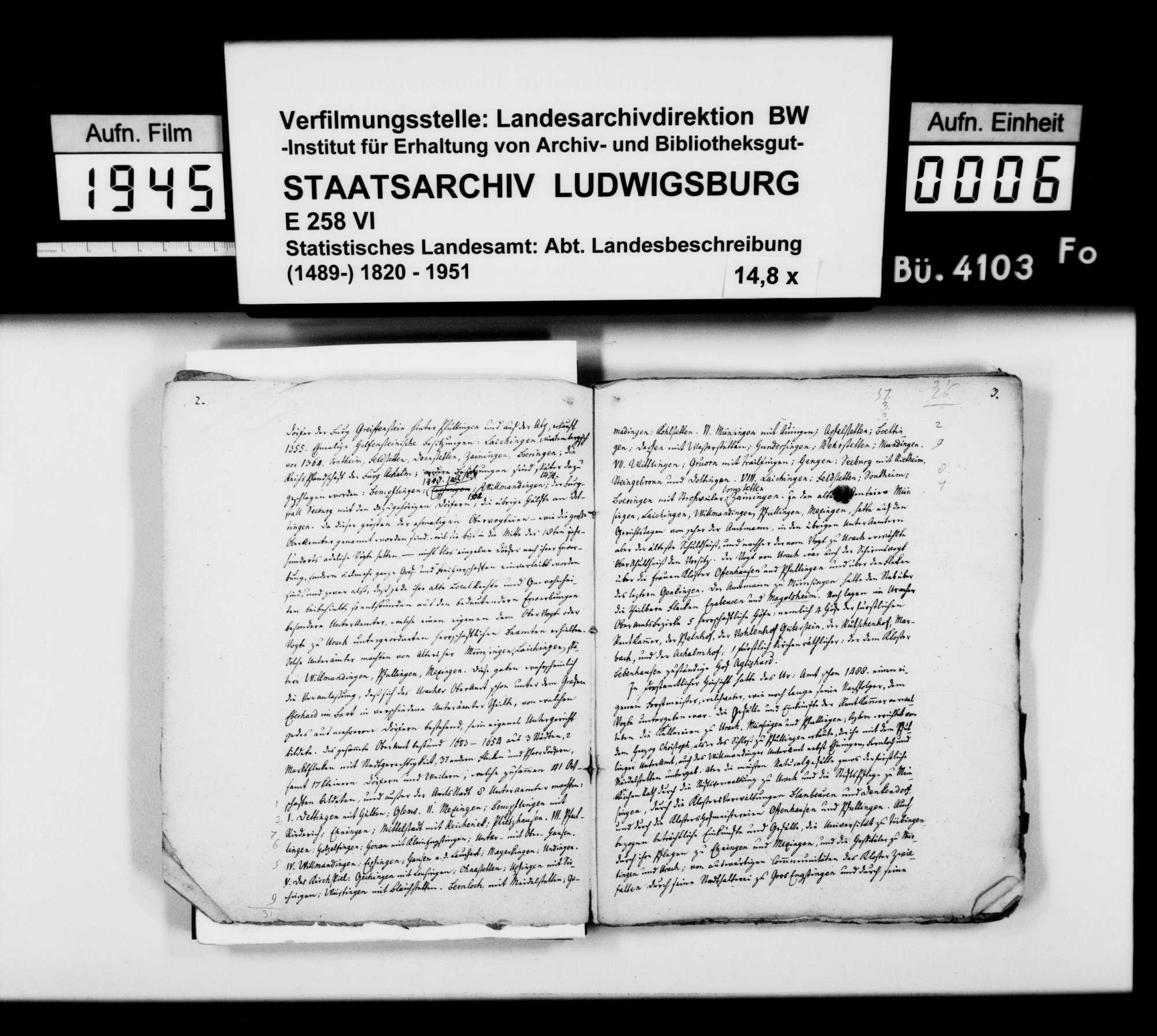 Manuskript des Pfarrers [Karl Christian] Gratianus aus Hengen: Urachs kleine Chronik, 2. und 3. Buch: Das Oberamt. Zweite Bearbeitungsstufe, Bild 3