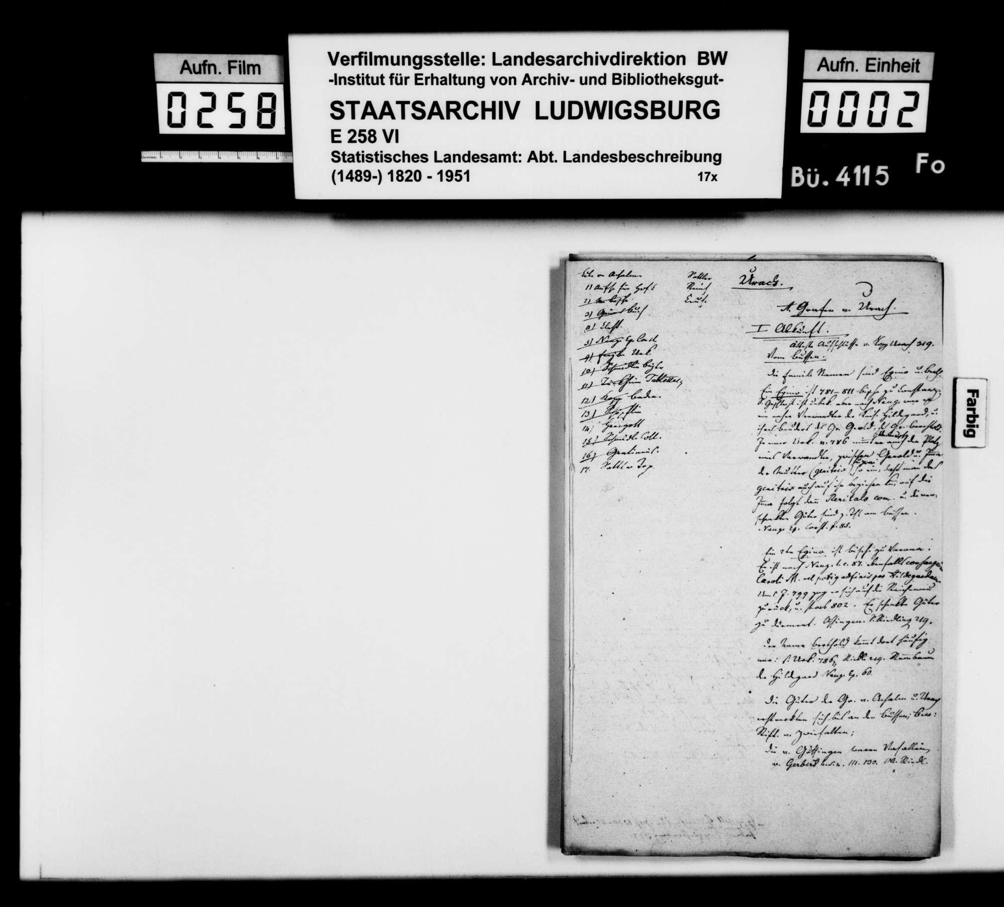 Konzept des Johann Daniel Georg Memminger zur OAB Urach, Rohfassung, Bild 1