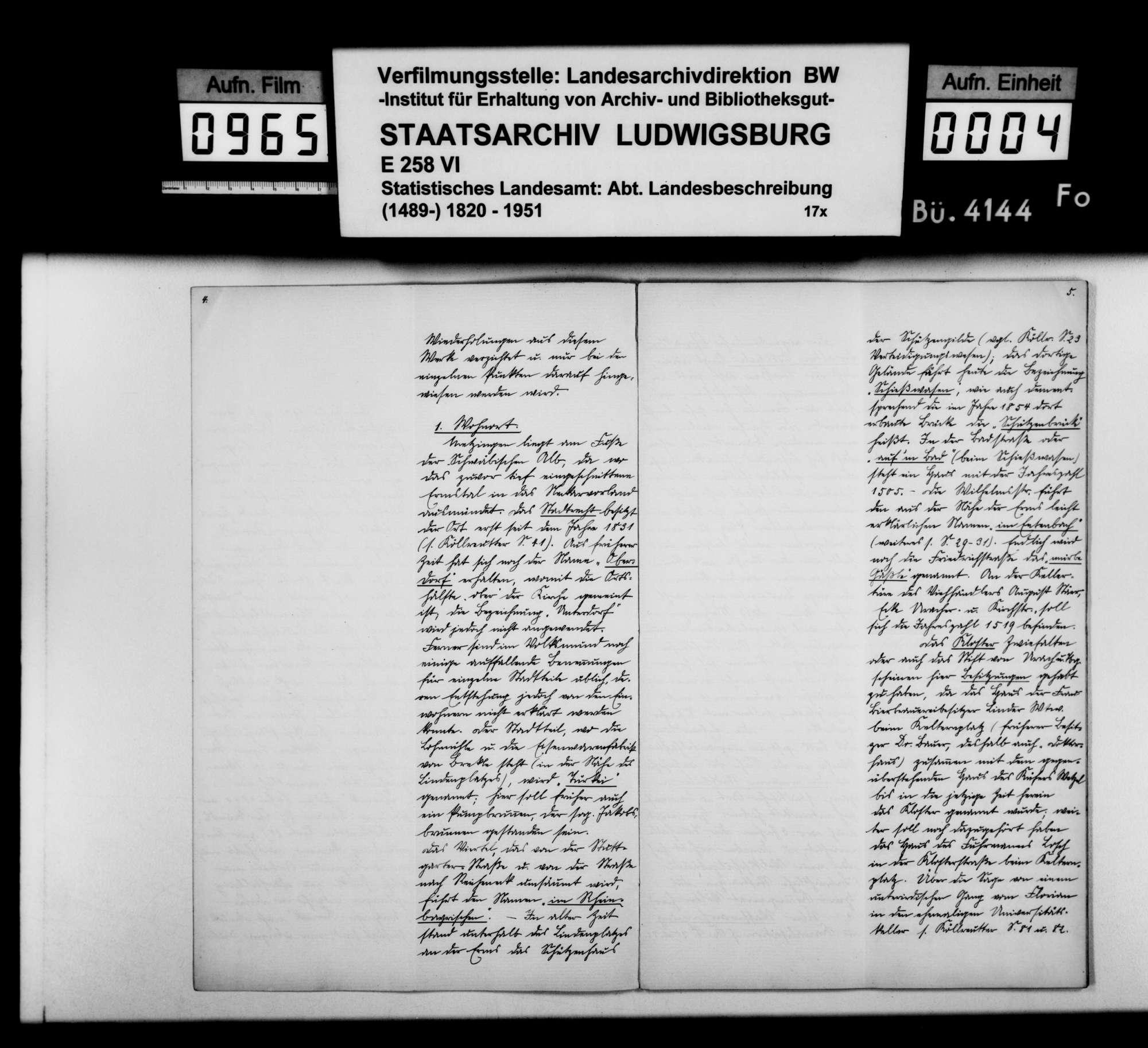 Konferenzaufsätze des Unterlehrers G. Wurster und des Hilfslehrers Gustav Strohmaier zur Ortsbeschreibung von Metzingen, Bild 3
