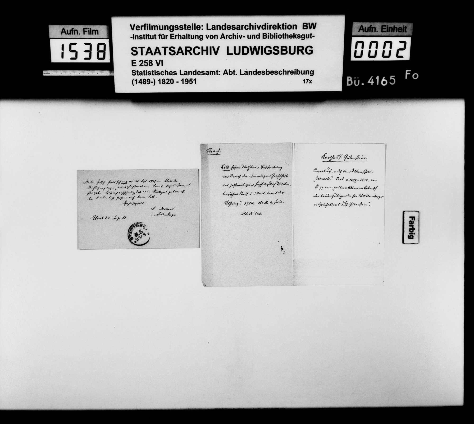 Materialsammlung für die Neubearbeitung der OAB, Bild 1