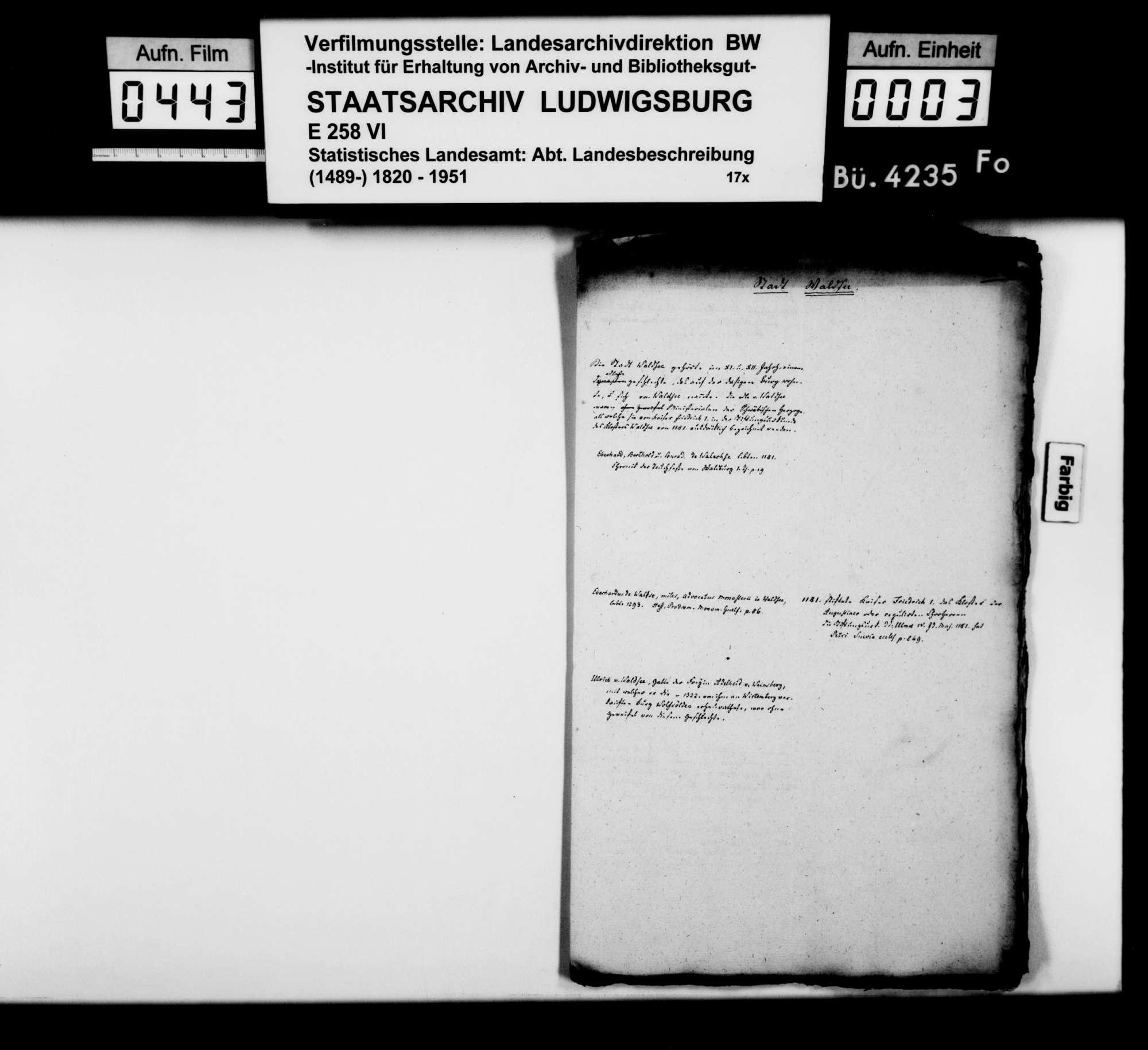 Kollektaneen des Rechtskonsulenten [Karl] von Alberti zur Geschichte des Adels und der Burgen im Oberamt im 11.-19. Jh., Bild 2