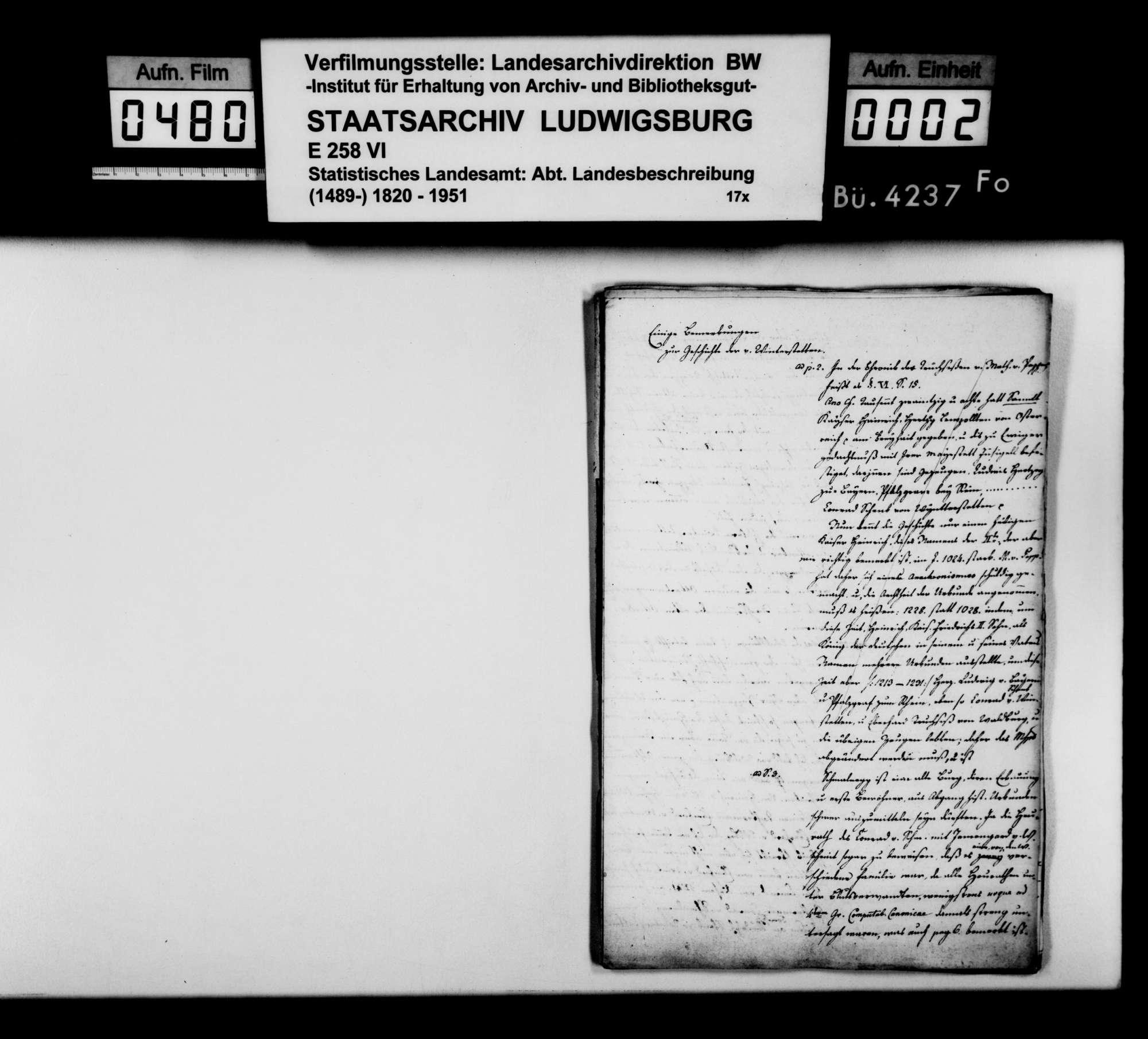 Bemerkungen und Abhandlungen des Domkapitulars [Johann Nepomuk von] Vanotti aus Rottenburg zur Geschichte im Oberamt, Bild 1