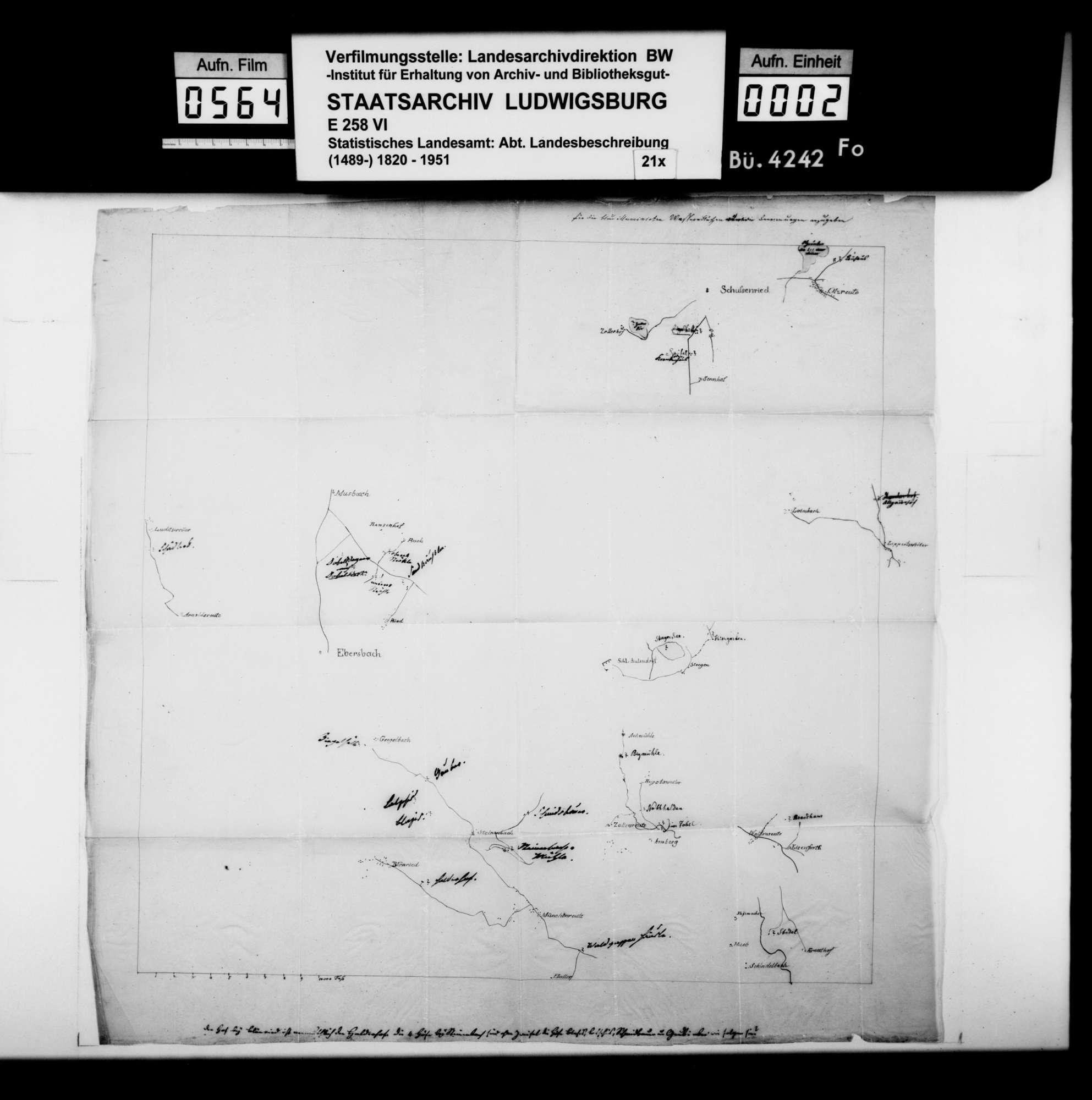 Farbige Kartenskizze vom Gebiet Schussenried - Ebersbach [Oberamt Saulgau] - Zollenreute [desgl.], Maßstab ca. 1:25 000, zur Korrektur der topographischen Karten des Königreichs, Bild 1